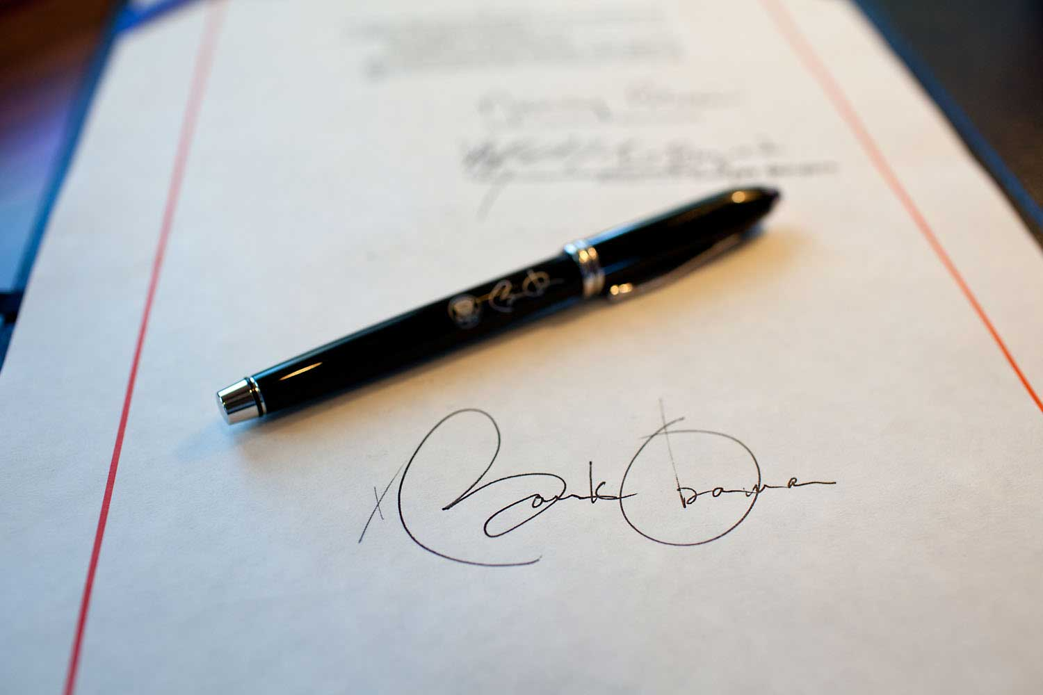 Aboard Air Force One, a closeup of the President's signature on the American Recovery and Reinvestment Act, which he had just signed in Denver, on Feb. 17, 2009