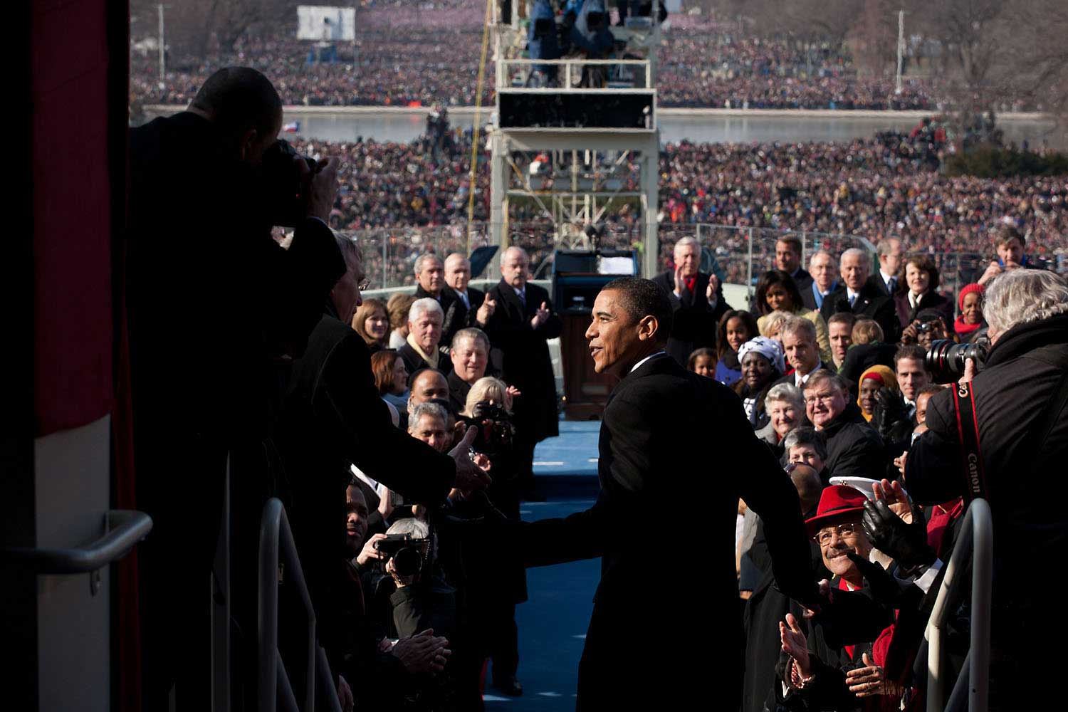 President-elect Barack Obama walks to the podium for his Inauguration as the 44th President at the U.S. Capitol in Washington, D.C., Jan. 20, 2009.