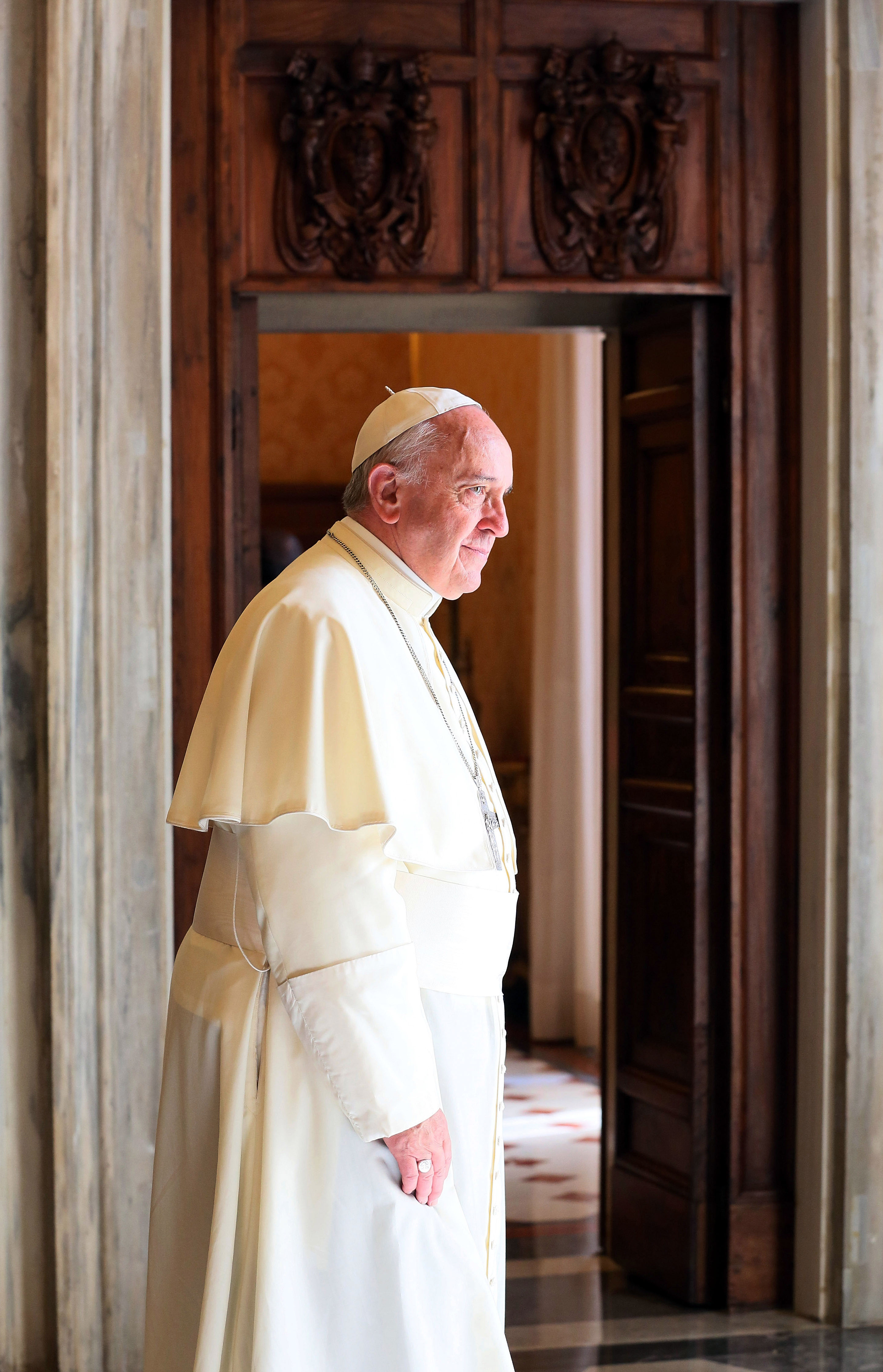 Pope Francis attends an audience with  President of Panama Juan Carlos Varela at his private library of the Apostolic Palace on Septy. 5, 2014 in Vatican City.