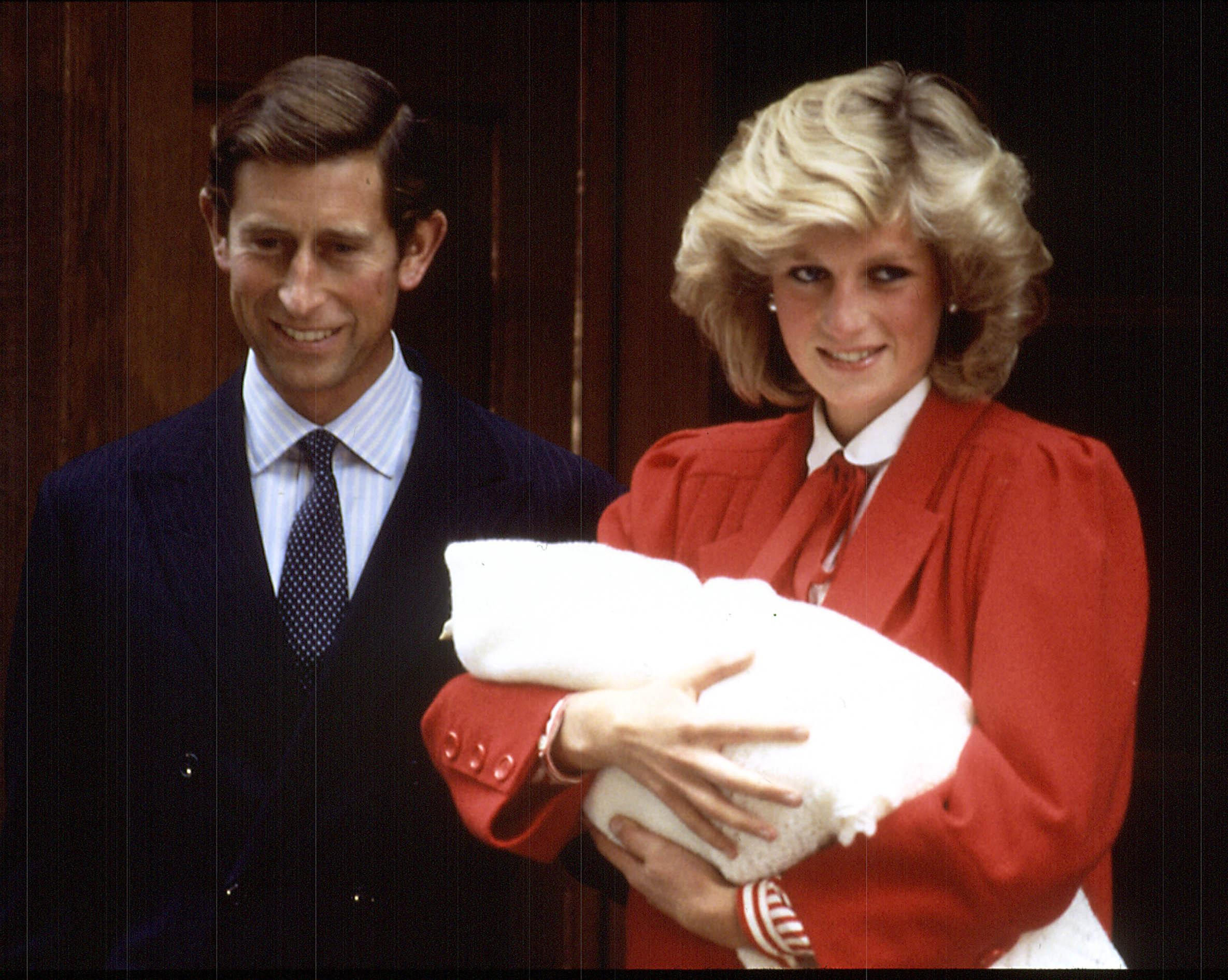 The Prince and Princess of Wales in 1984 following the birth of their second son, Prince Harry.
