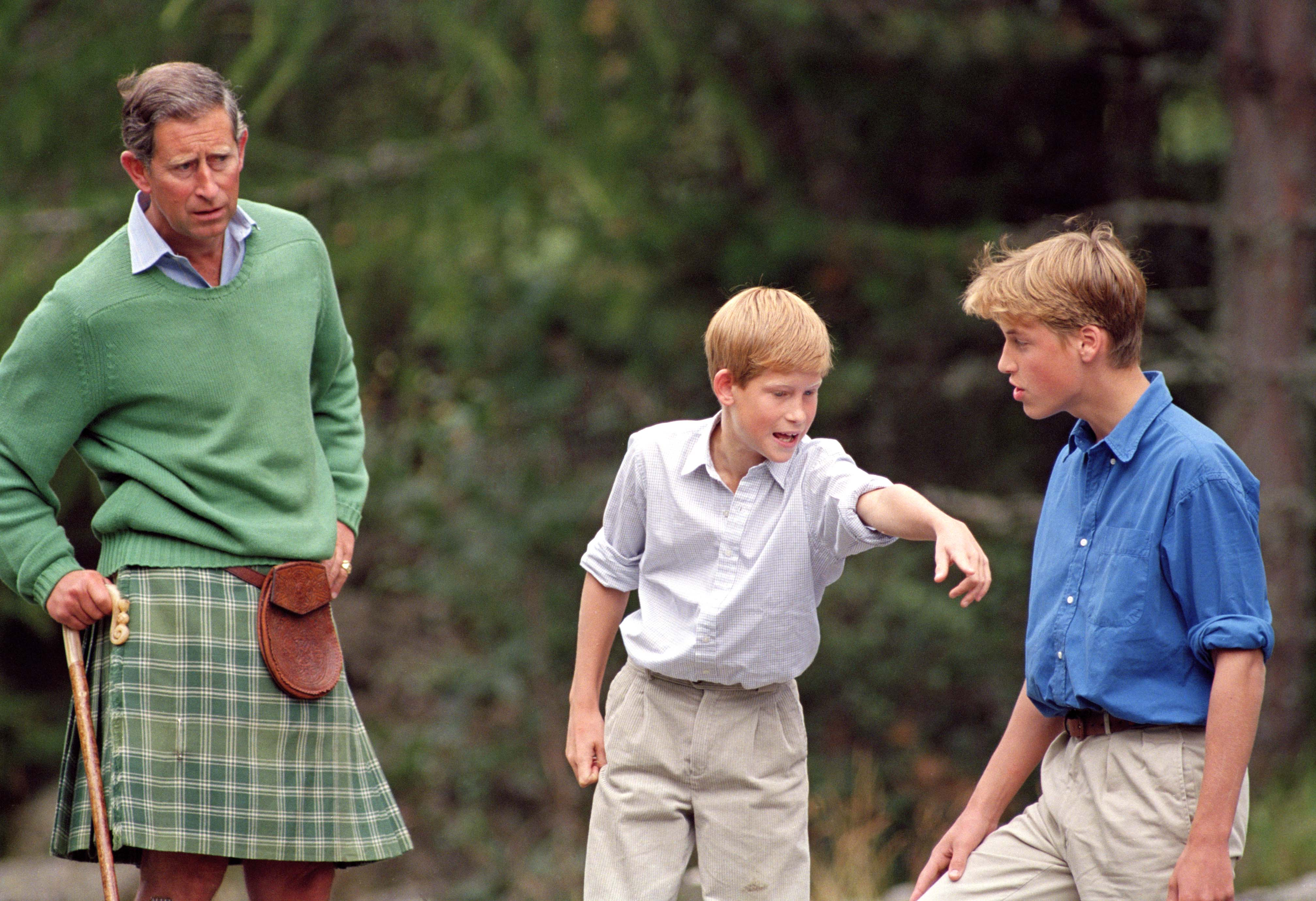 The Prince of Wales and Princes William and Harry at Balmoral Castle in Scotland on Aug. 16, 1997.
