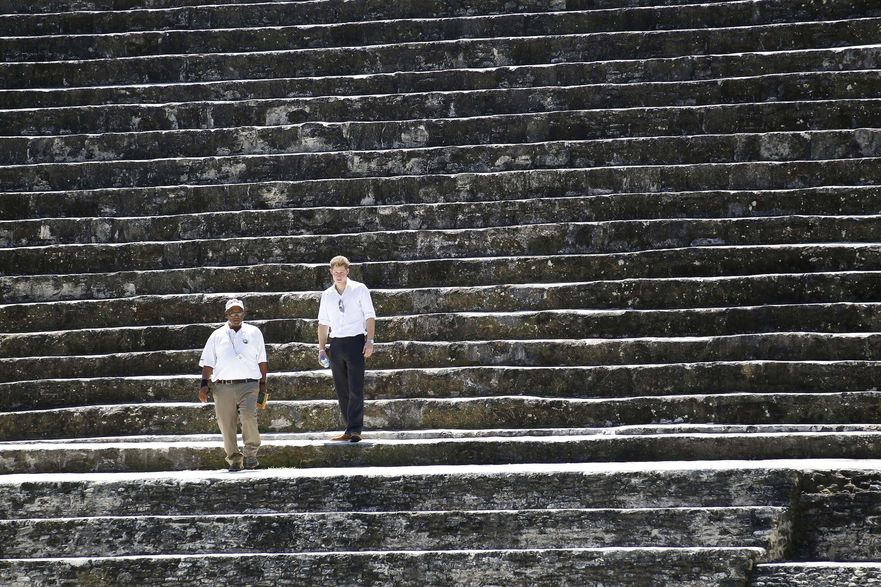 Britain's Prince Harry visits the Xunantunich Mayan temple near Benque Viejo March 3, 2012.