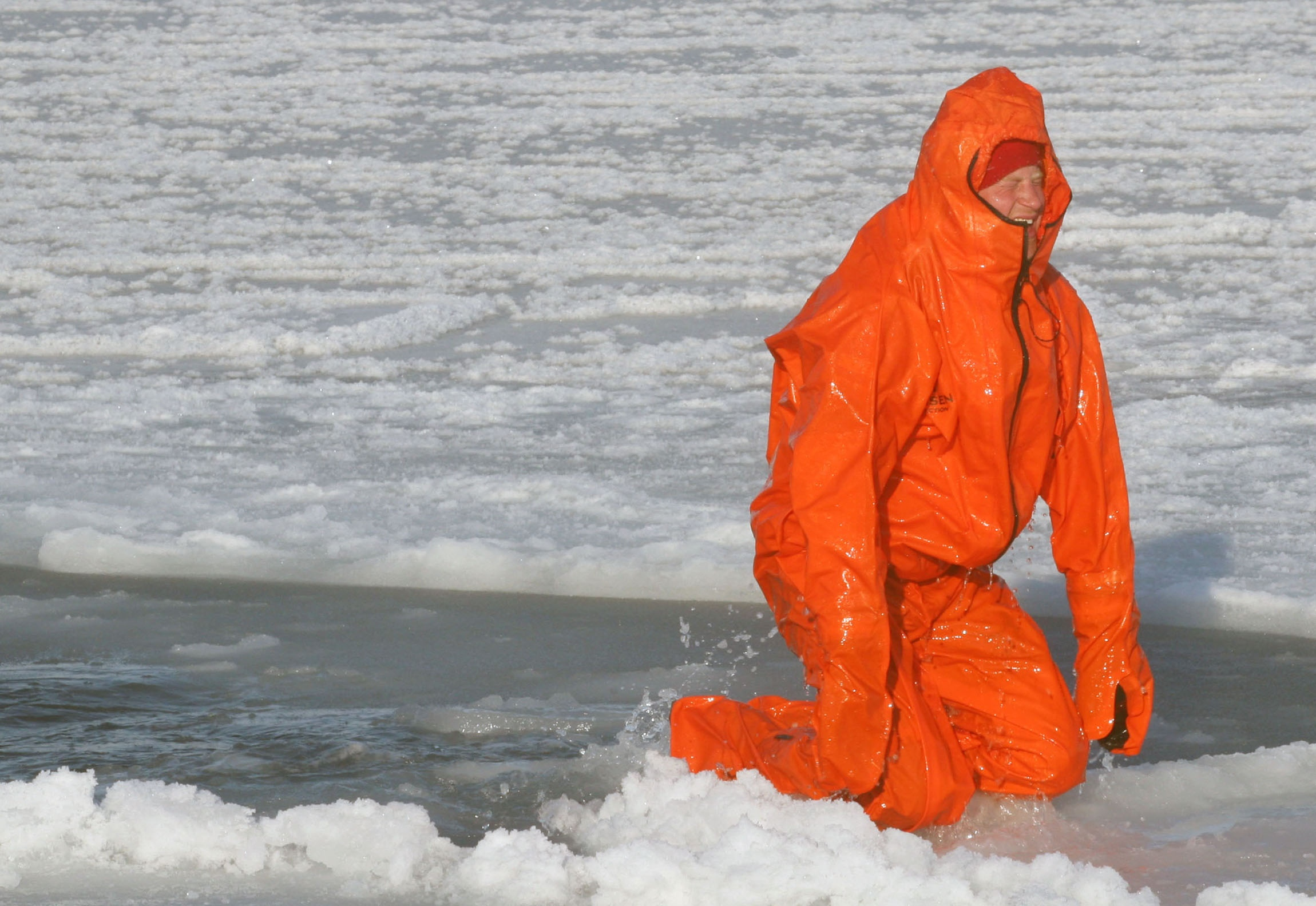 Prince Harry tries wearing an immersion suit on the island of Spitsbergen, between the Norwegian mainland and the North Pole, on March 30, 2011.