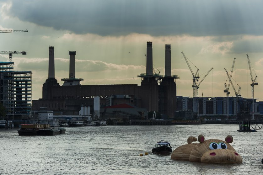 HippopoThames sculpture by Florentijn Hofman on the River Thames, London, Britain - 2 Sep 2014