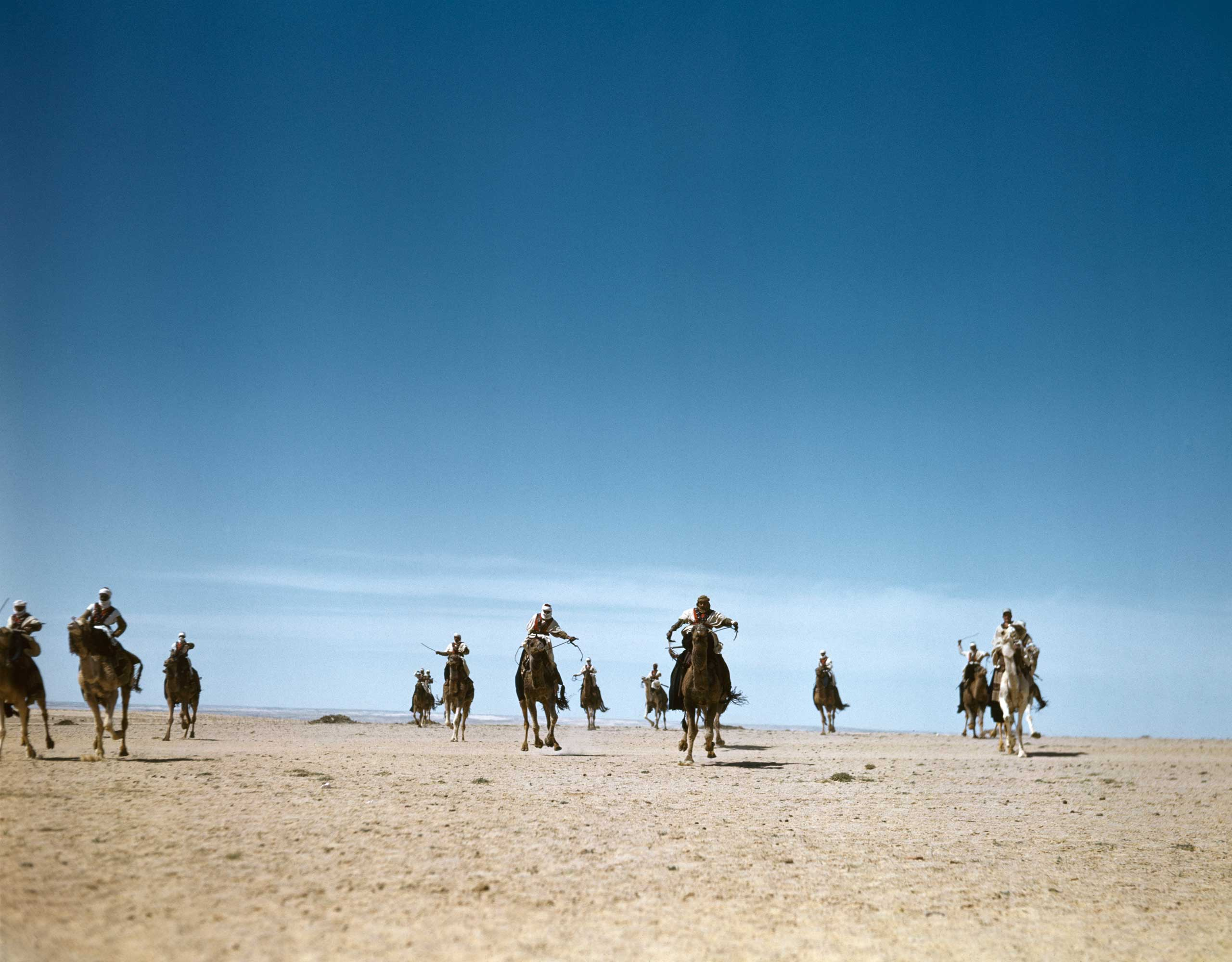 The French Camel Corps, the Meharists, practicing maneuvers in the desert, Tunisia, 1943.