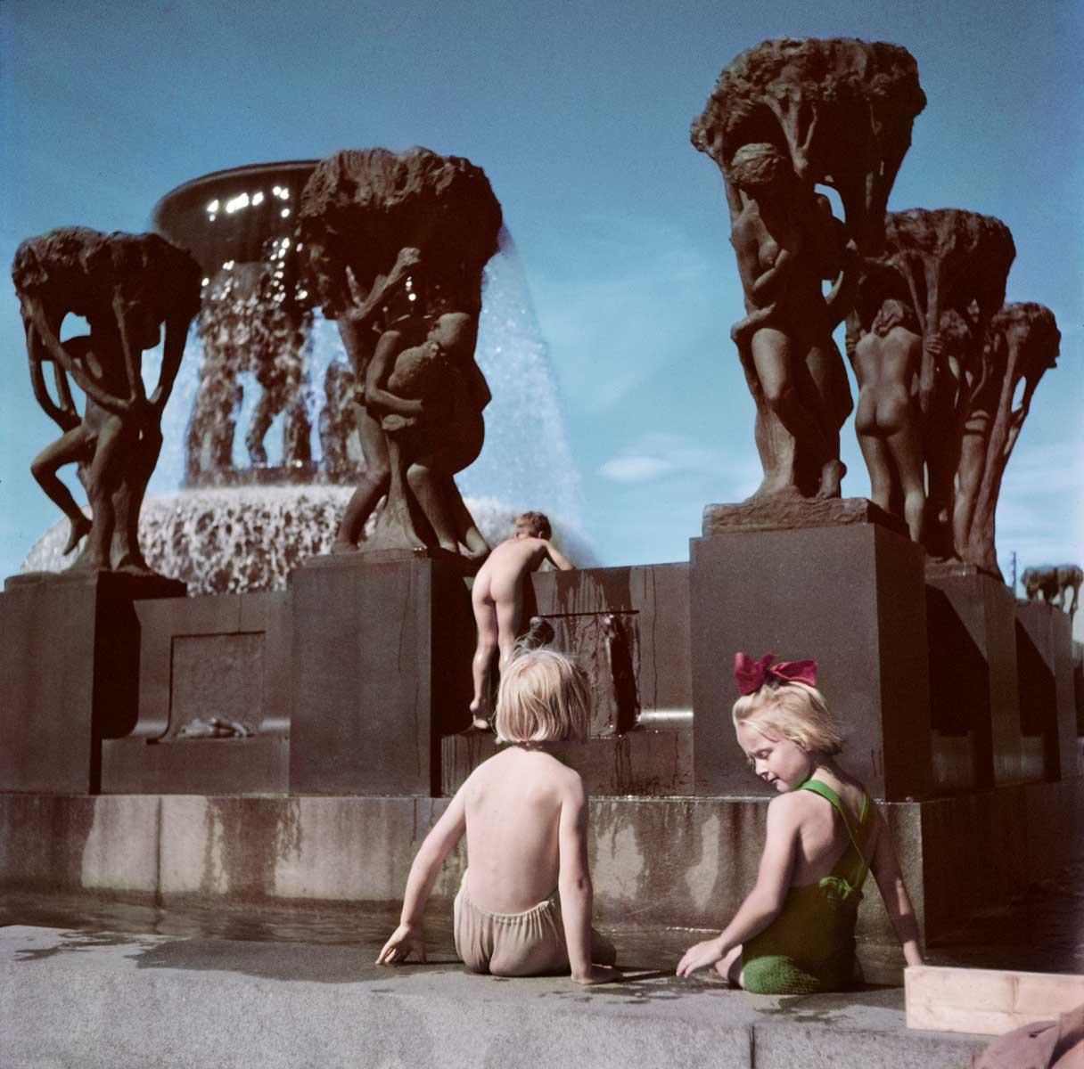 Children play in the Gustav Vieglund Sculpture Park, Oslo, Norway, 1951.