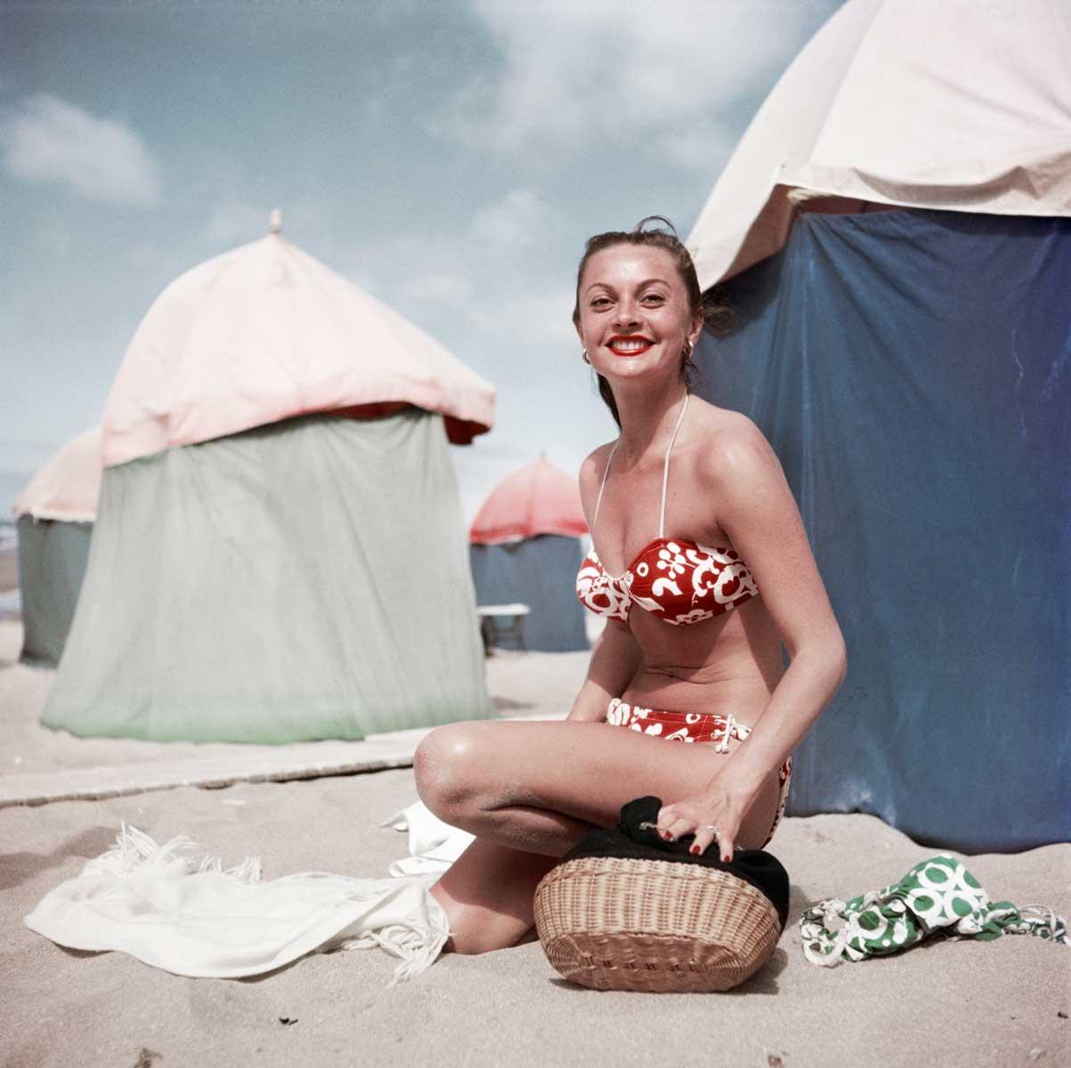 Woman in a bikini, Deauville, France, Aug. 1951.