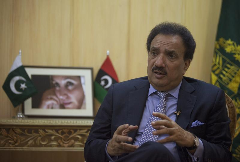 Pakistan's Interior Minister Rehman Malik speaks during an interview with Reuters in lslamabad on Aug. 4, 2012