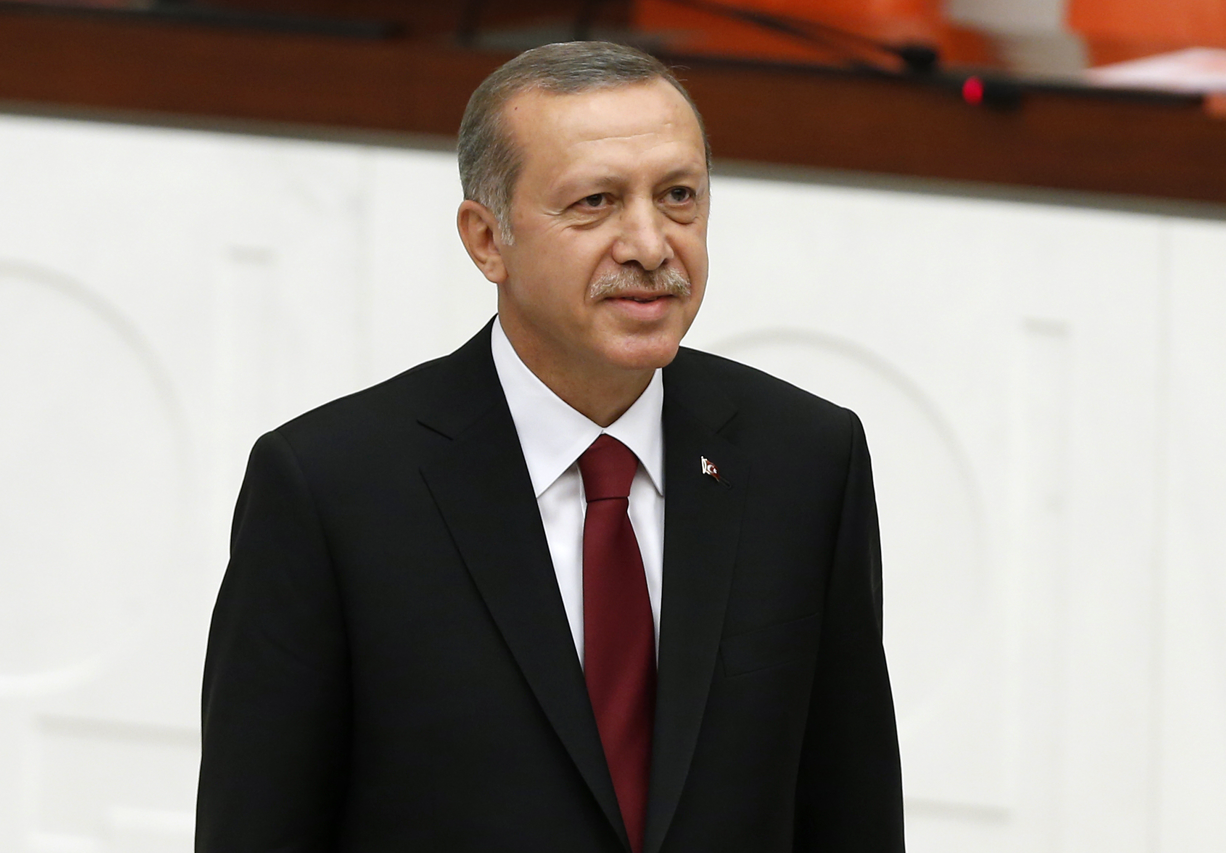 Turkey's new President Recep Tayyip Erdogan attends a swearing-in ceremony at the parliament in Ankara on Aug. 28, 2014.