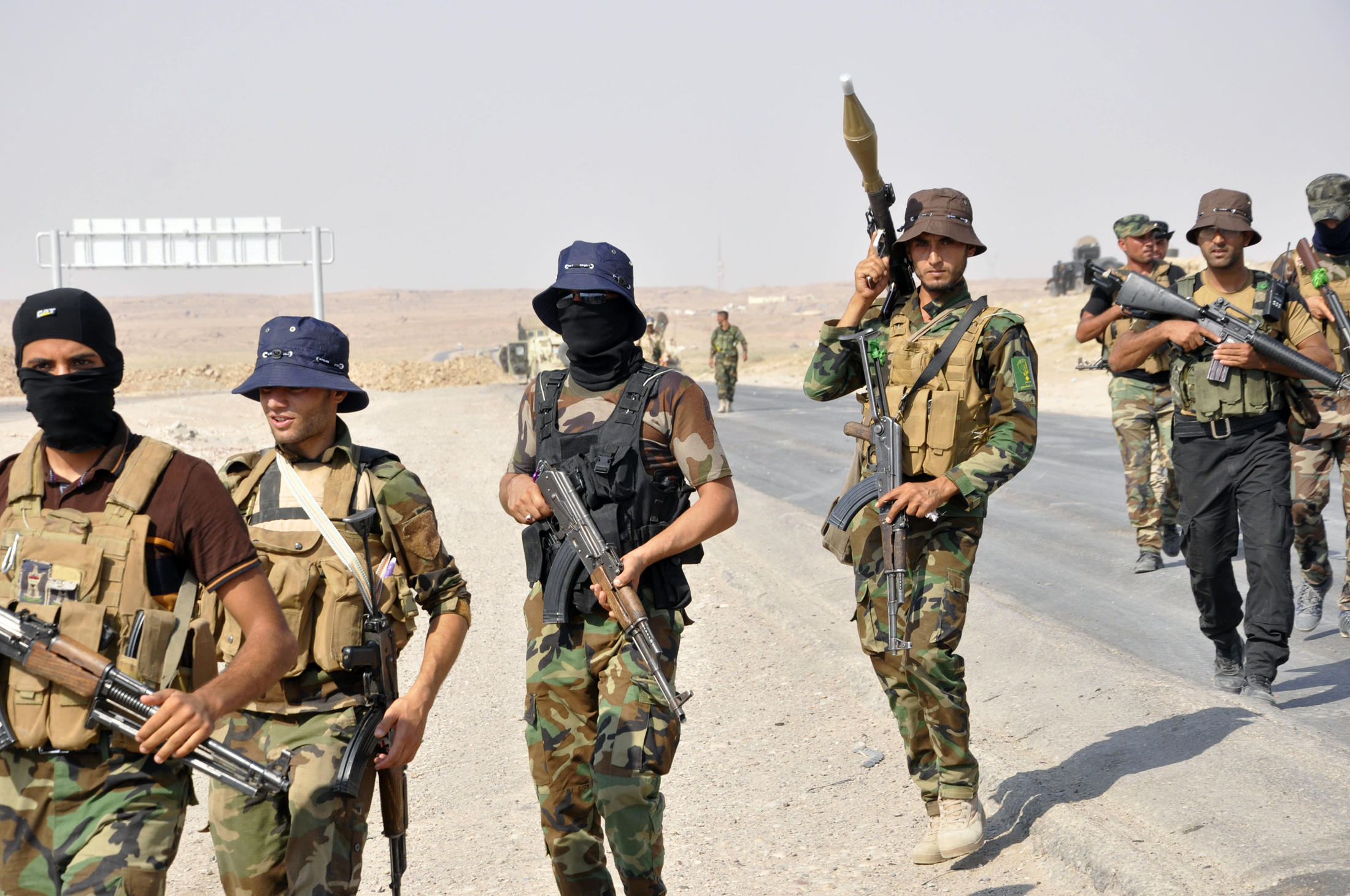Some of the Iraqi security forces who helped free the town of Amerli over the weekend with help from U.S. air strikes