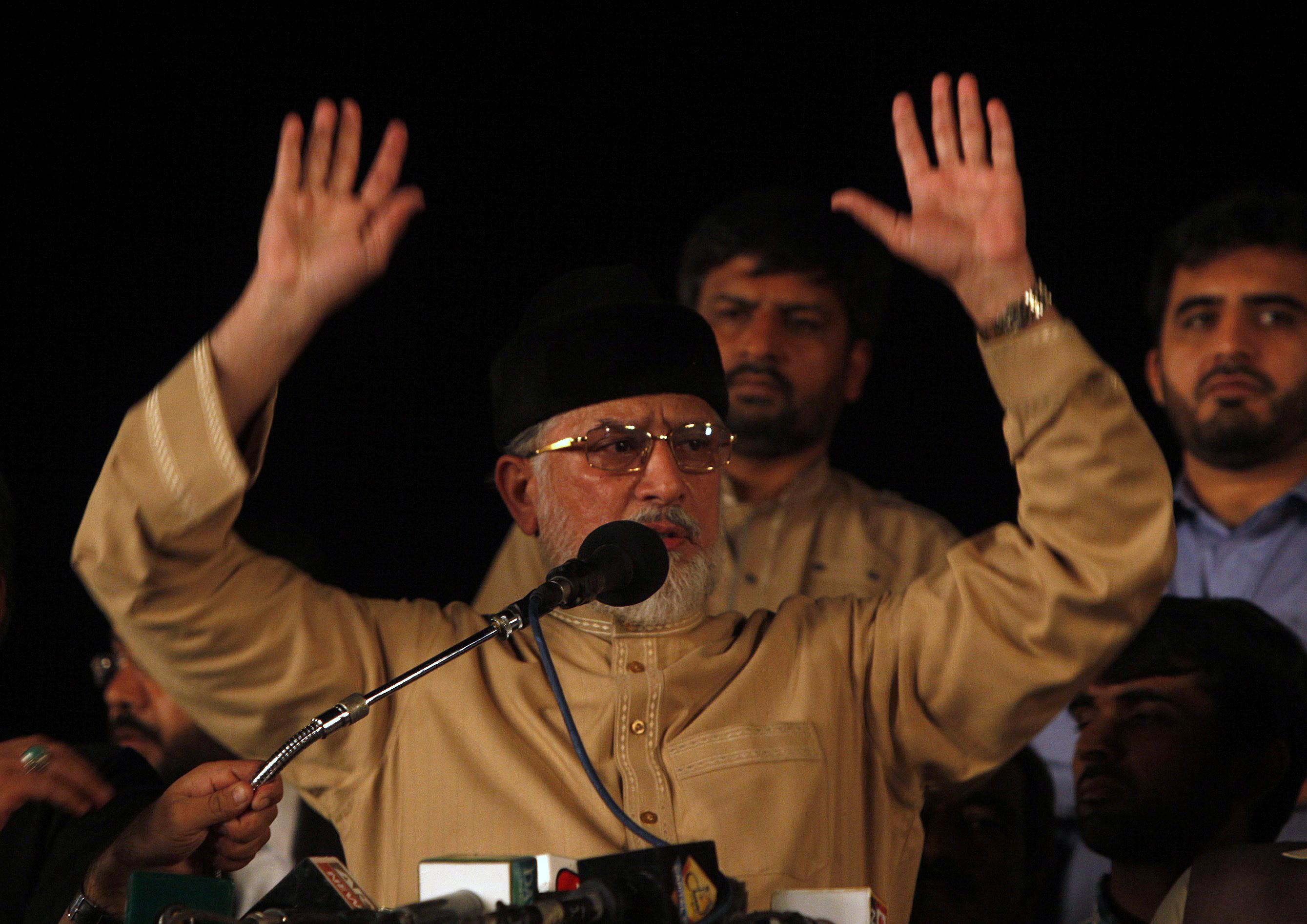 Tahir ul-Qadri, Sufi cleric and opposition leader of political party Pakistan Awami Tehreek (PAT), addresses supporters in Islamabad September 3, 2014.