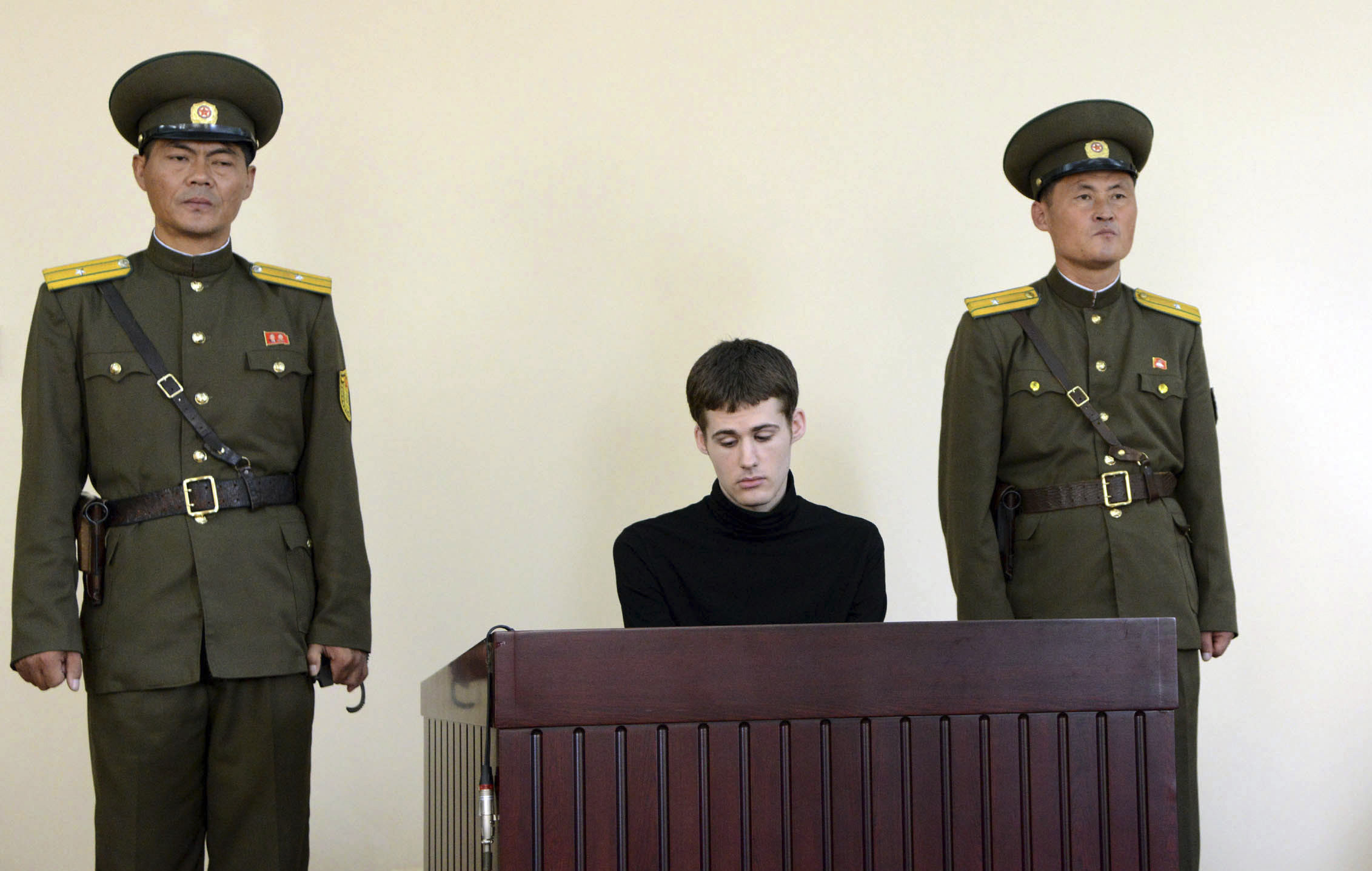 U.S. citizen Matthew Miller during his trial at the North Korean Supreme Court in Pyongyang in this undated photo released by the state-run Korean Central News Agency on Sept. 14, 2014