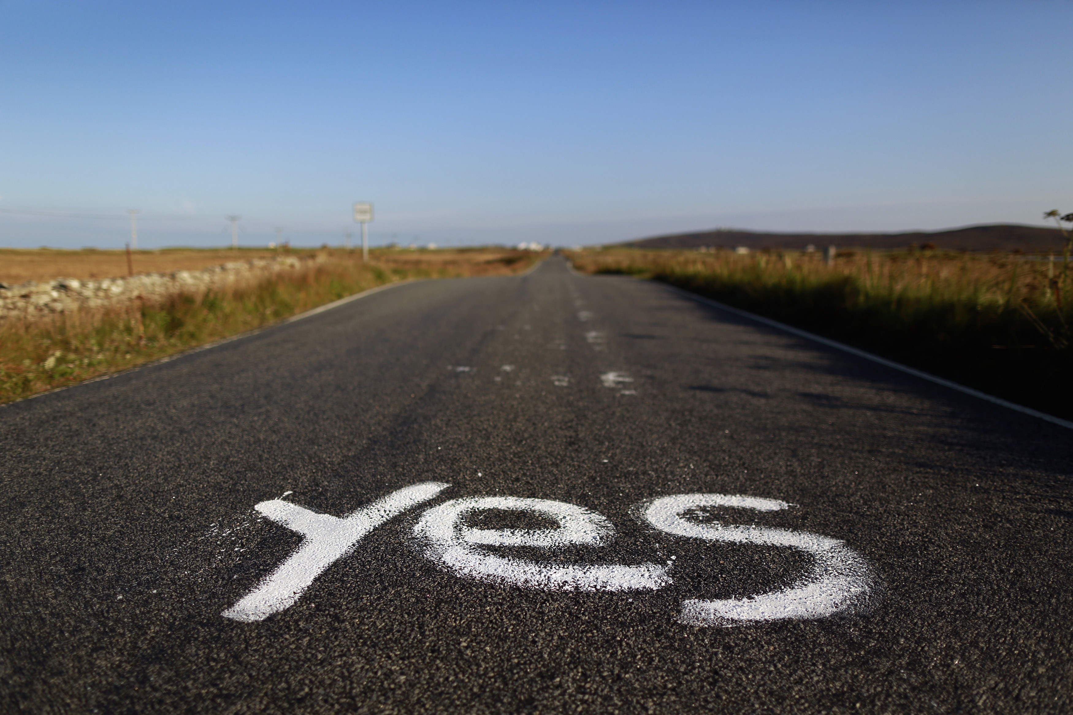 Graffiti supporting the  Yes  campaign is painted on a road in North Uist in the Outer Hebrides Sept. 17, 2014.