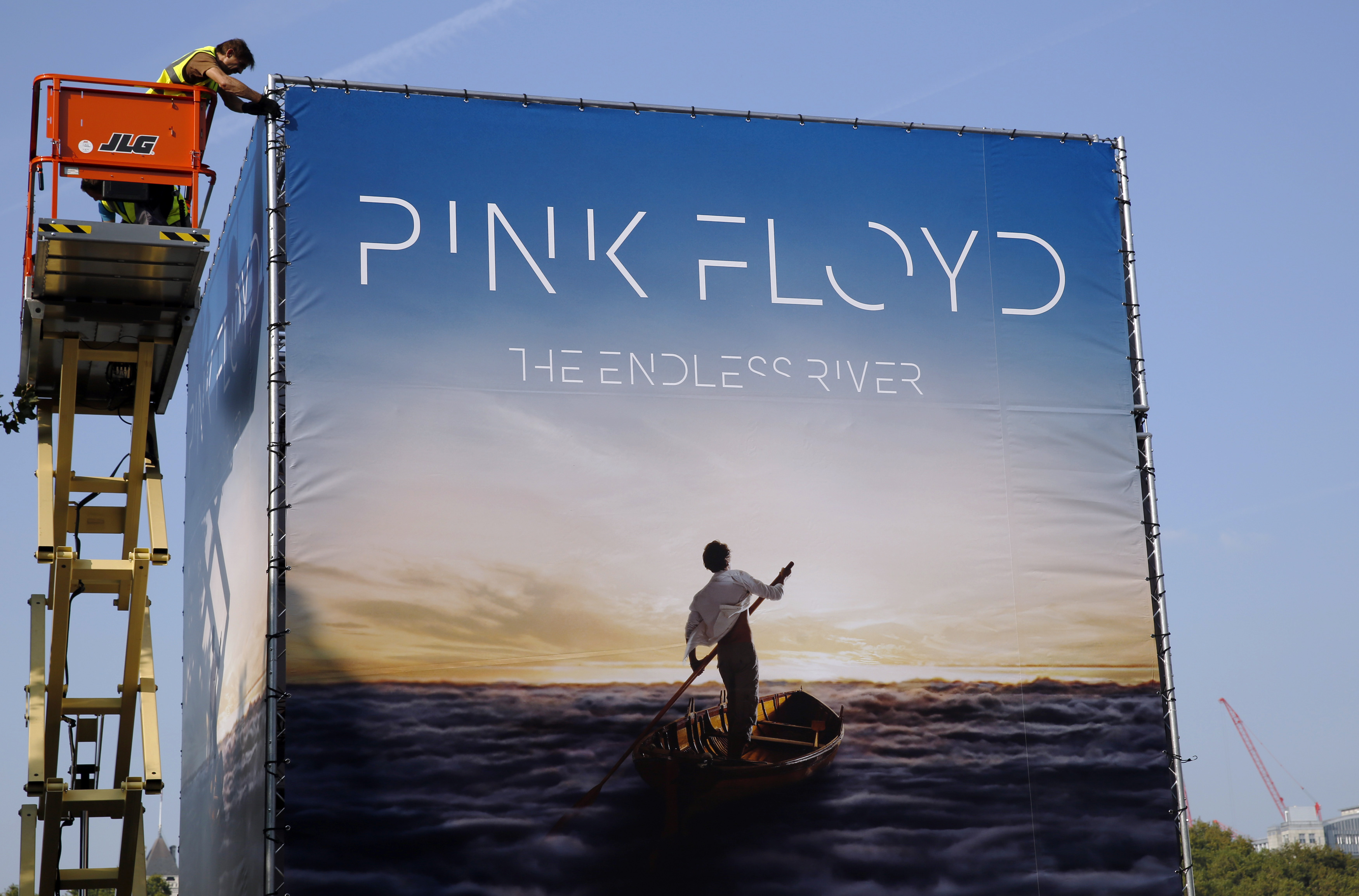 Advertising for the new Pink Floyd album The Endless River is installed on a four-sided billboard on in London Sept. 22, 2014
