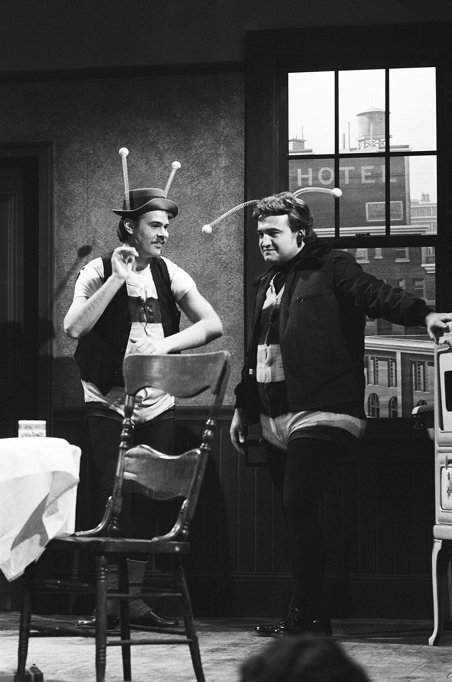 "Dan Aykroyd as Ed and John Belushi as Ralph during ""The Honeymooners"" skit on May 29, 1976."