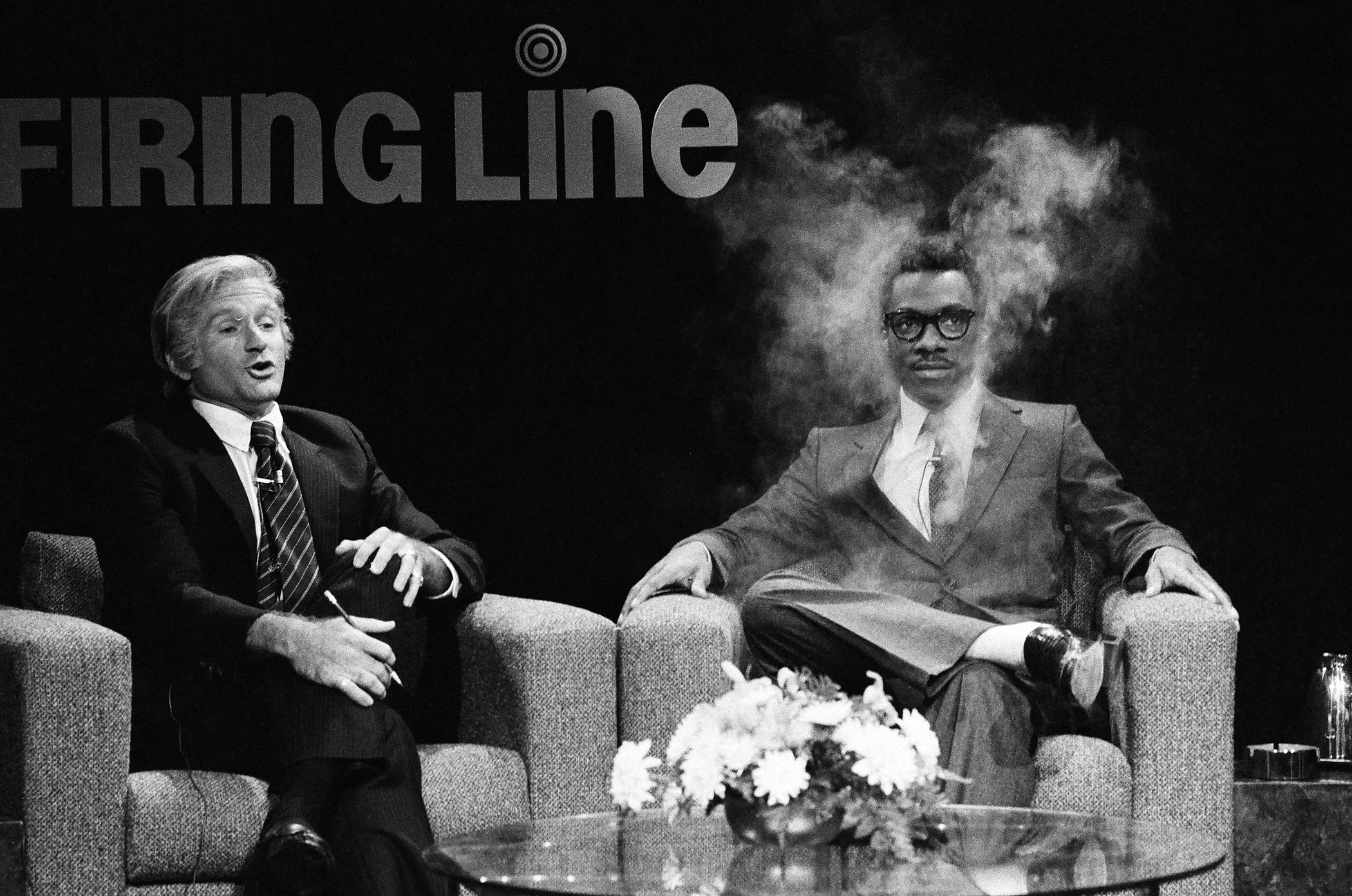 Robin Williams as William F. Buckley and Eddie Murphy as Dr. Phillip Holder during the 'Firing Line' skit on February 11, 1984.