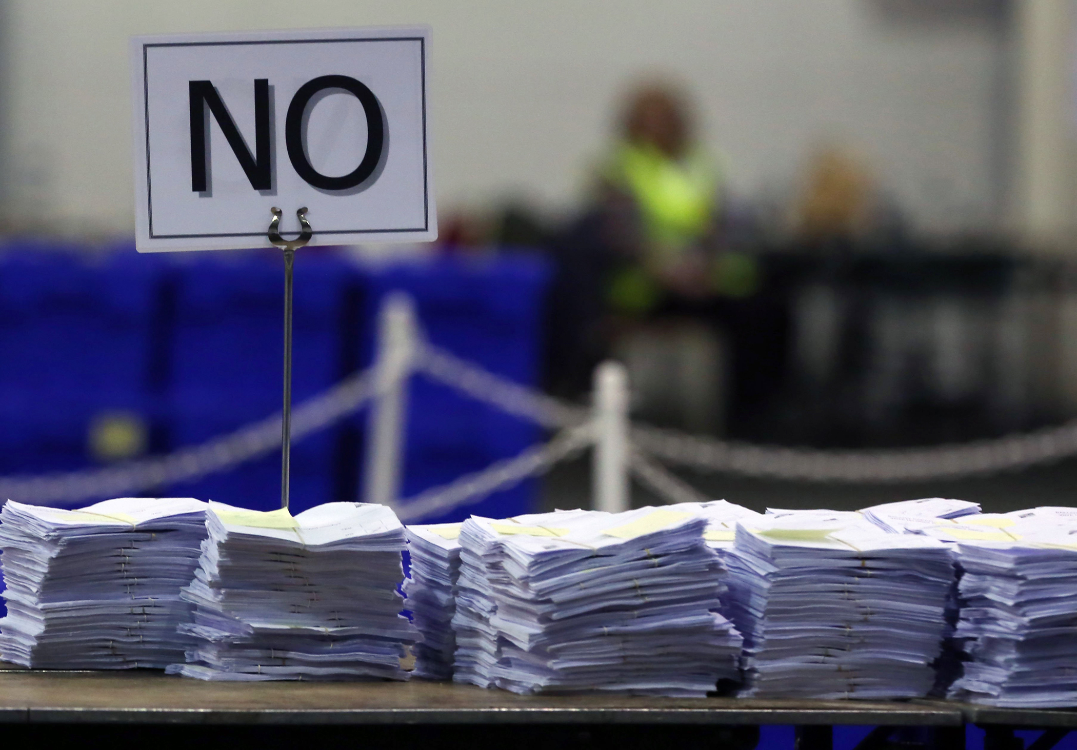 'No' ballots are stacked on a table during the Scottish independence referendum count at the Royal Highland Centre in Edinburgh, Scotland, Sept. 19, 2014.