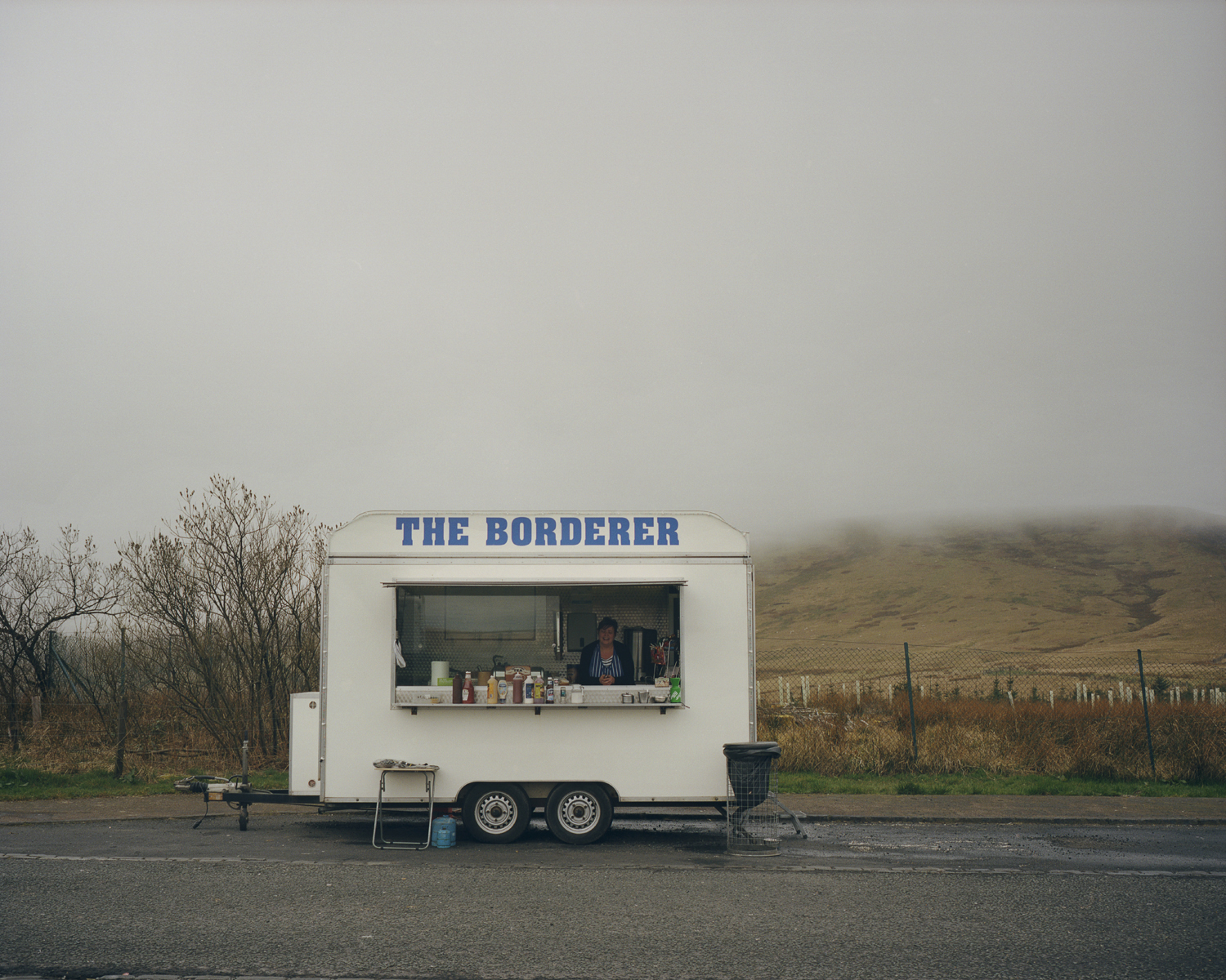 A burger van parked on A68 at Carter Bar on the English-Scottish border. Depending on the flow of traffic, the owner decides whether to park on the Scottish side or the England side of the road.