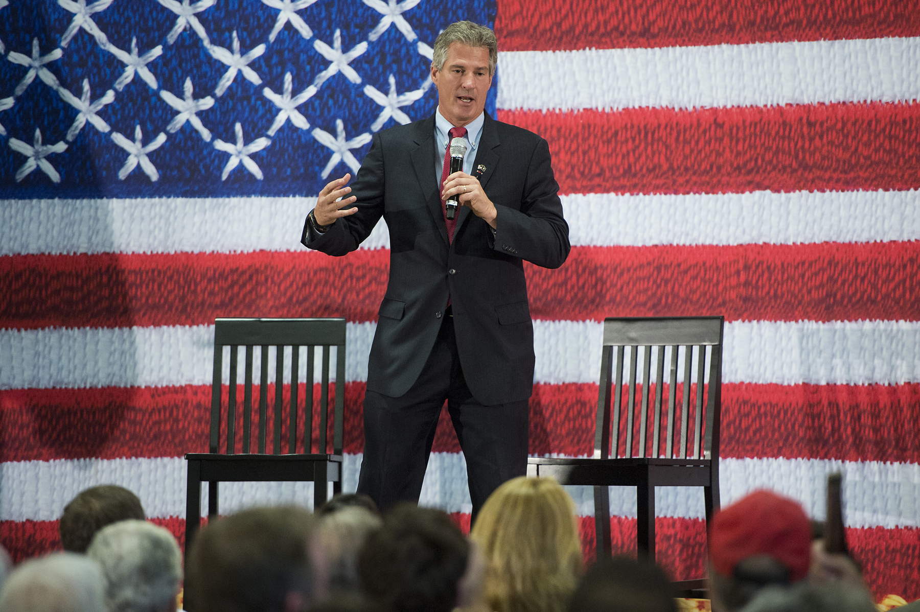 Former Sen. Scott Brown, candidate for U.S. Senate in New Hampshire, holds a campaign town hall rally at the Pinkerton Academy in Derry, N.H., on Aug. 18, 2014.