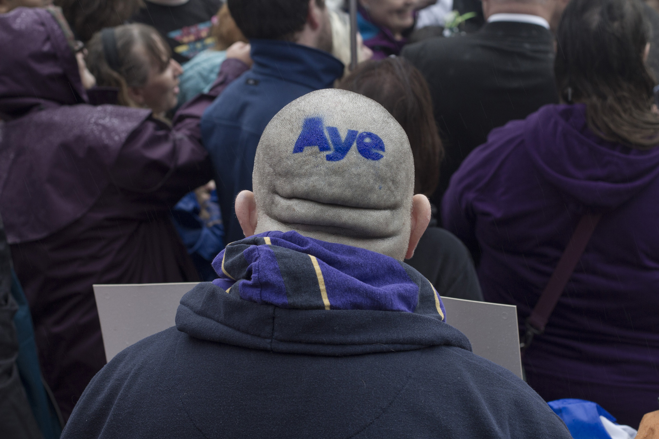 A pro-independence supporter with the word 'Aye' on his scalp pictured outside the Burgh Hall waiting the arrival of Scotland's First Minister Alex Salmond MSP who was on a visit to his home town of Linlithgow, West Lothian, Sept. 15, 2014.