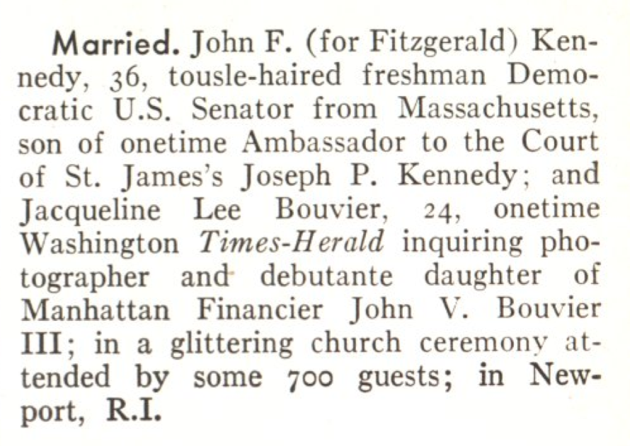 The Kennedy wedding announcement in the Sept. 21, 1953, issue of TIME