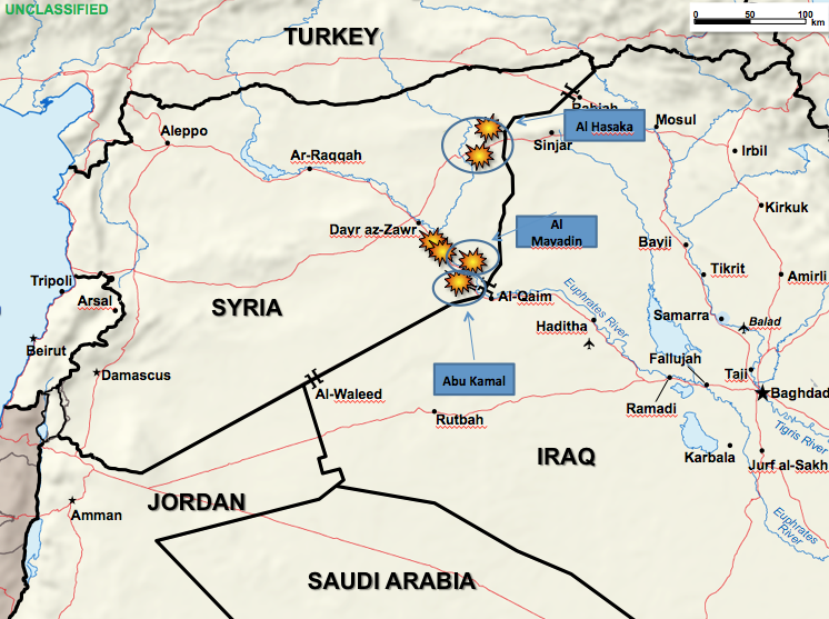 The U.S. and its allies damaged a dozen small ISIS refineries in eastern Syria on Wednesday.