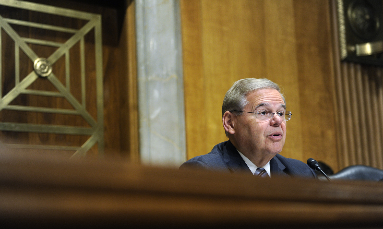 Senate Foreign Relations Committee Chairman Sen. Robert Menendez, D-N.J., questions State Department Undersecretary for Political Affairs Wendy Sherman on Capitol Hill in Washington on July 29, 2014.