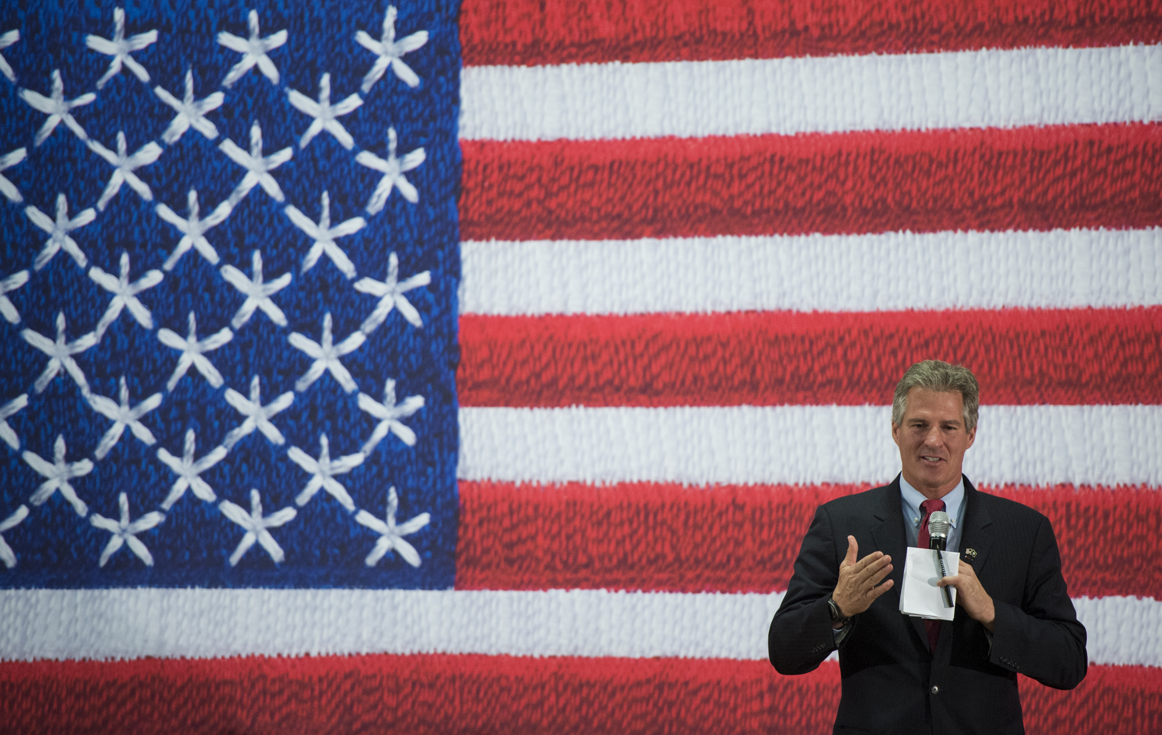 Former Sen. Scott Brown, R-Mass., left, candidate for U.S. Senate in New Hampshire, holds a campaign town hall rally with Sen. John McCain, R-Ariz., not pictured, at the Pinkerton Academy in Derry, N.H., on Aug. 18, 2014.