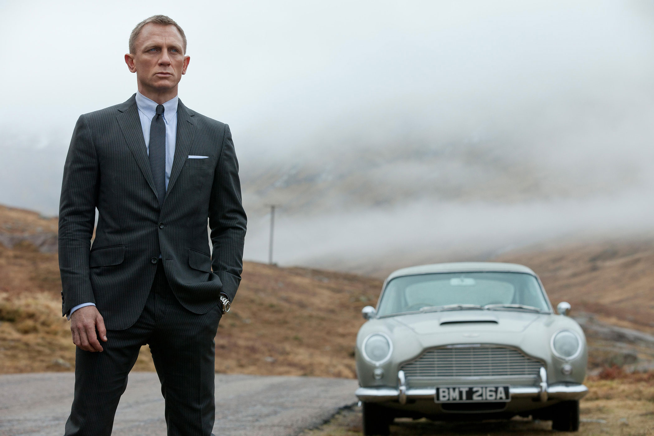 Skyfall, 2012. He's a Scotsman after all! Fifty years after Dr. No, and with Englishman Daniel Craig now playing 007, the James Bond series went to Scotland for a climactic sequence set in the spy's ancestral home, Skyfall. The visit is hell on M (Judi Dench), but our hero survives to die another day.