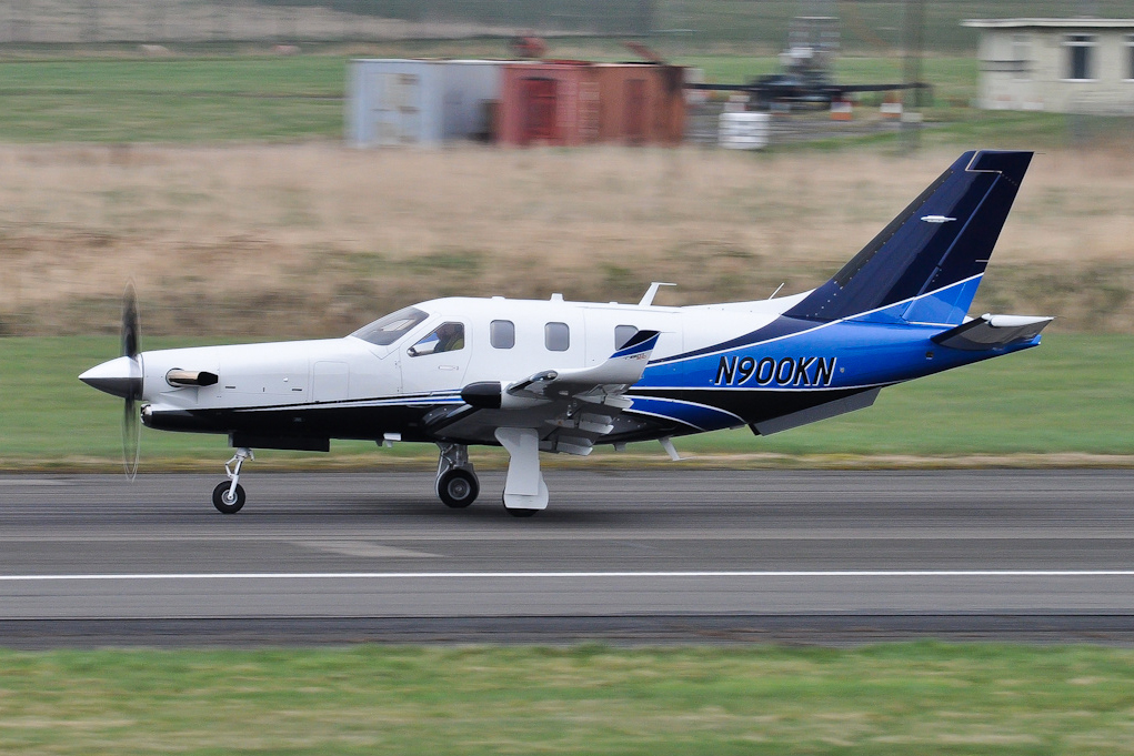 A Socata TBM-900 (700N) at Glasgow airport in Scotland on March 14, 2014.
