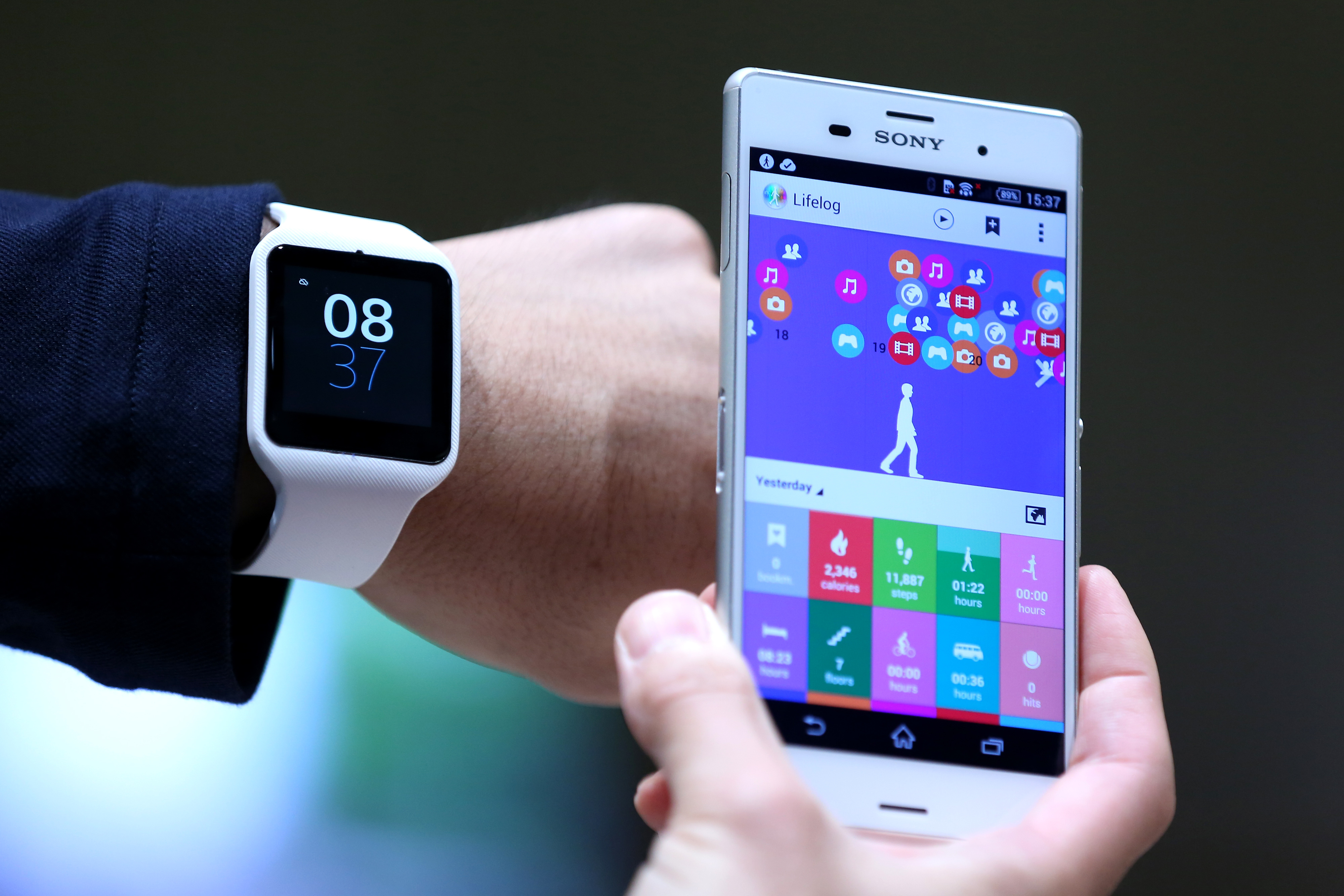 Sony's new SmartWatch 3 wearable device and Xperia Z3 smartphone shown at the company's showroom in Tokyo, Sept. 9, 2014.
