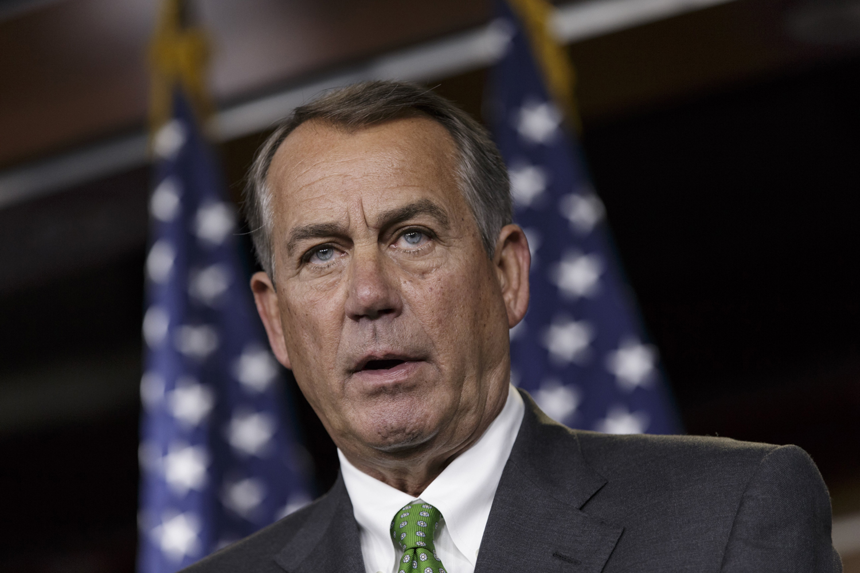House Speaker John Boehner of Ohio speaks during a news conference on Capitol Hill in Washington, Sept. 11, 2014.