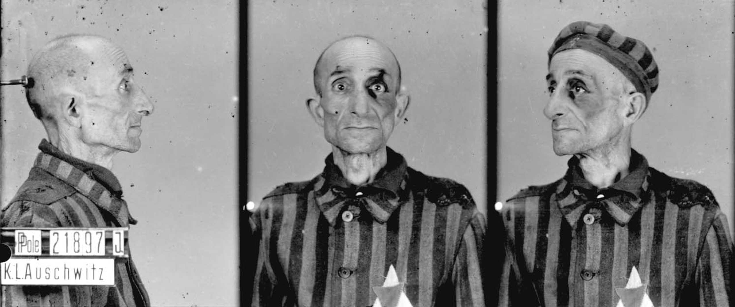 Prisoner no. 21897 at Auschwitz, Poland, c. 1940-45. These inmate ID photos were taken by the camp's Erkennungsdienst, the photographic identification unit. Most of the photos were taken by Wilhelm Brasse, an inmate of German-Polish decent with photographic training. Brasse has estimated that he took about 40,000 to 50,000  identity pictures  before being forcibly moved to another concentration camp in Austria.