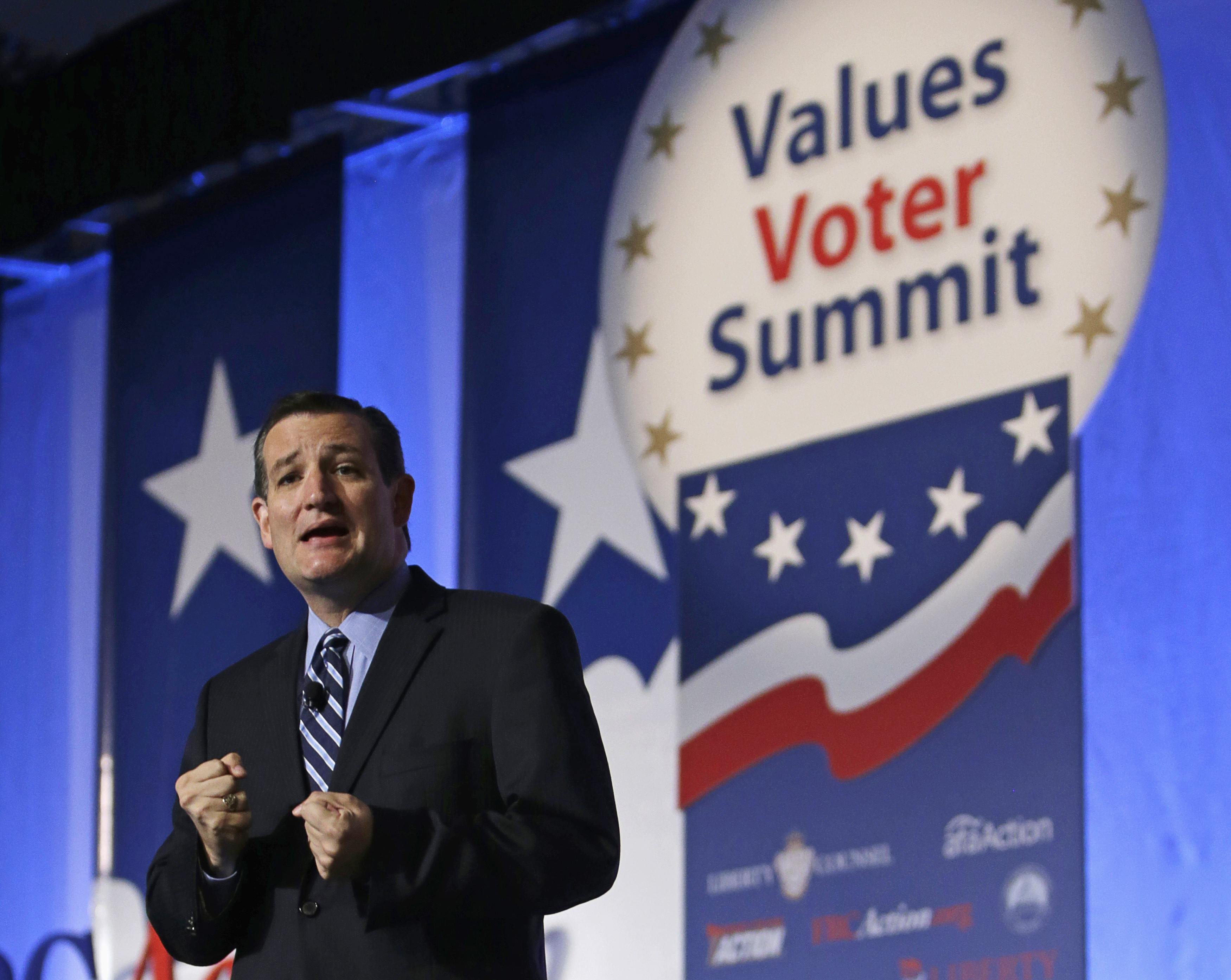 U.S. Senator Ted Cruz (R-TX) delivers his remarks at the morning plenary session of the Values Voter Summit in Washington on Sept. 26, 2014.
