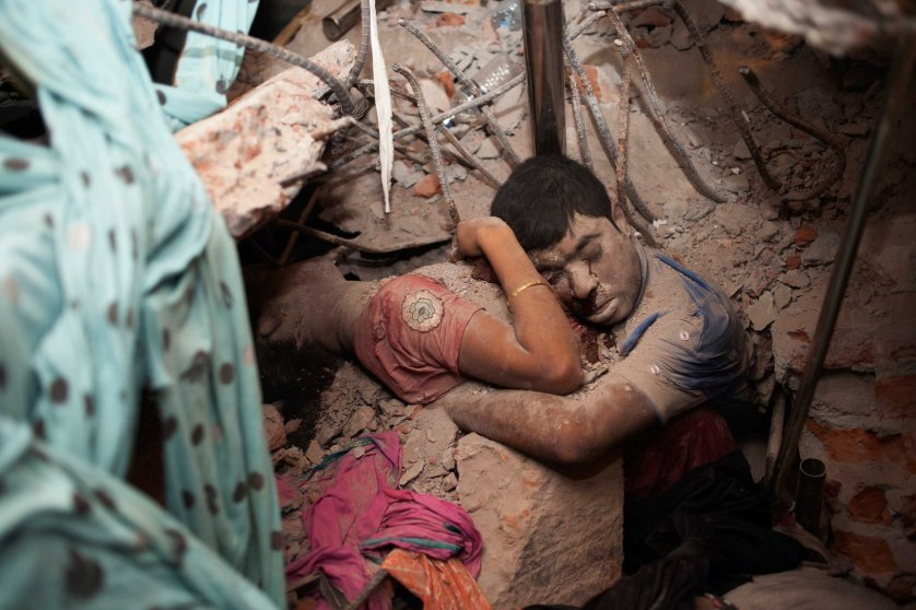 Taslima Akhter. Savar Dhaka, Bangladesh. April 24, 2013. April 24, 2013, still remains fresh in my memory. At 9 AM when I got the news, I rushed to Rana Plaza. That morning I did not understand what a brutal thing had happened, but within hours I grasped the enormity and horror of it. The day passed with many people helping survivors and taking photos. At midnight there were still many people. I saw the frightened eyes of the relatives. Some were crying. Some were looking for their loved ones.Around 2 AM among the many dead bodies inside the collapse, I found a couple at the back of the building, embracing each other in the rubble. The lower parts of their bodies were stuck under the concrete. A drop of blood from the manÕs eye ran like a tear. Since then, this couple remains firmly in my heart. So many questions rose in my mind. What were they thinking at the last moment of their lives? Did they remember their family members? Did they to try to save themselves?I keep asking myself whether the dreams of these people do not matter at all. Are they not worthy of our attention because they are the cheapest labor in the world? I have received many letters from different corners of the world, expressing solidarity with the workers. Those letters inspired me so much, while this incident raised questions about my responsibility as a photographer. My photography is my protest.