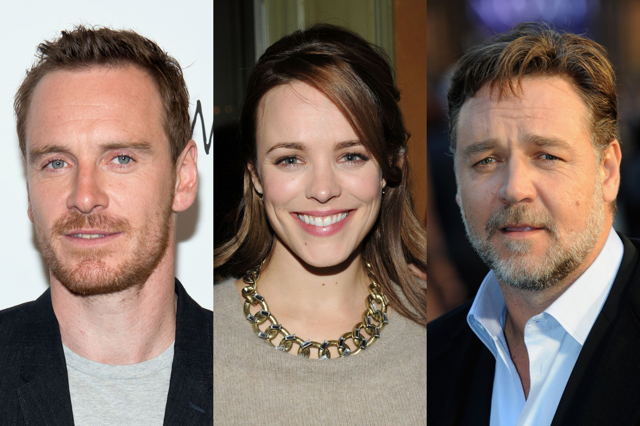 From left: Michael Fassbender, Rachel McAdams, Russell Crowe