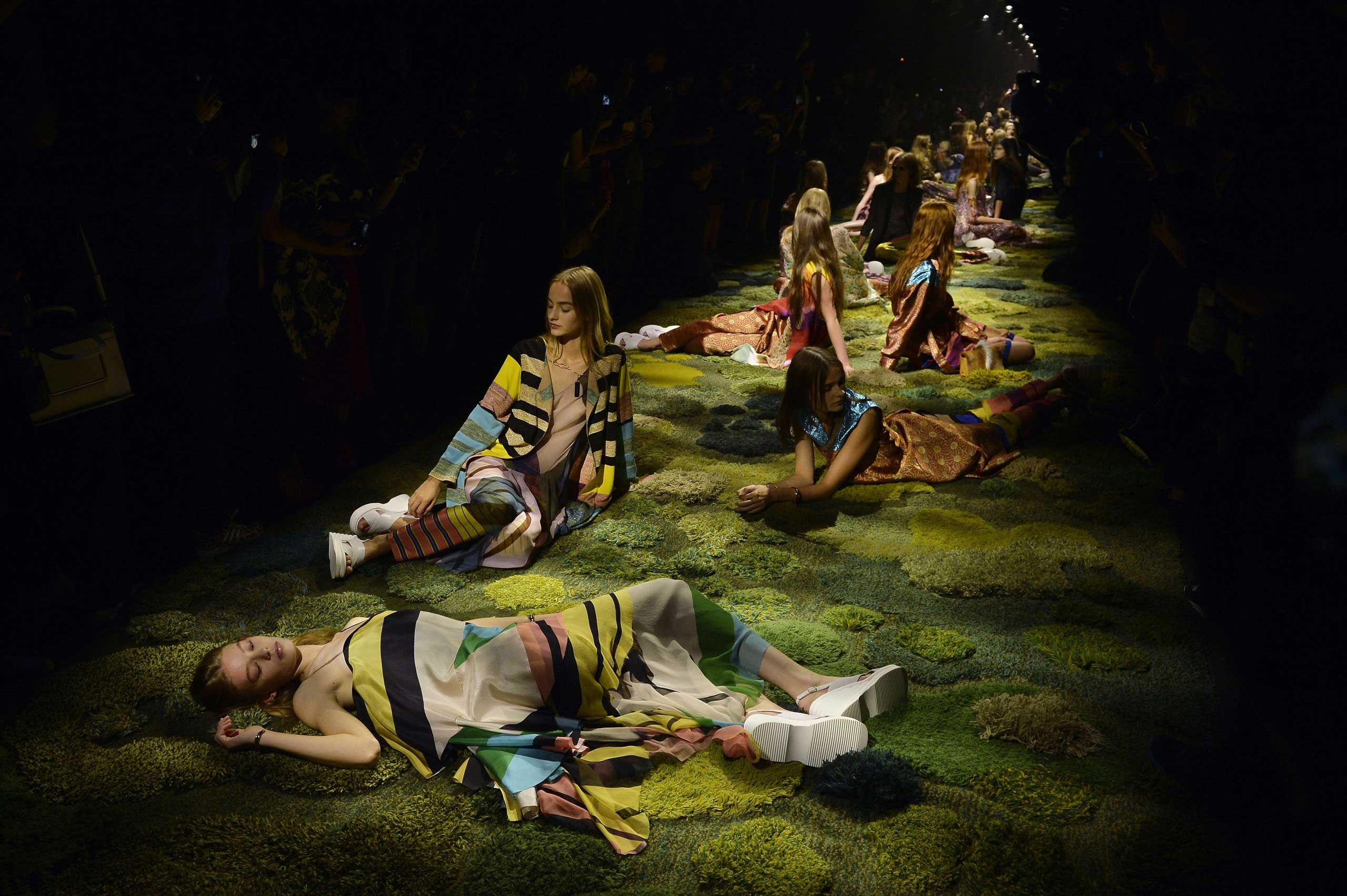 Sept. 24, 2014. Models present creations by Dries Van Noten during the 2015 Spring/Summer ready-to-wear collection fashion show in Paris.