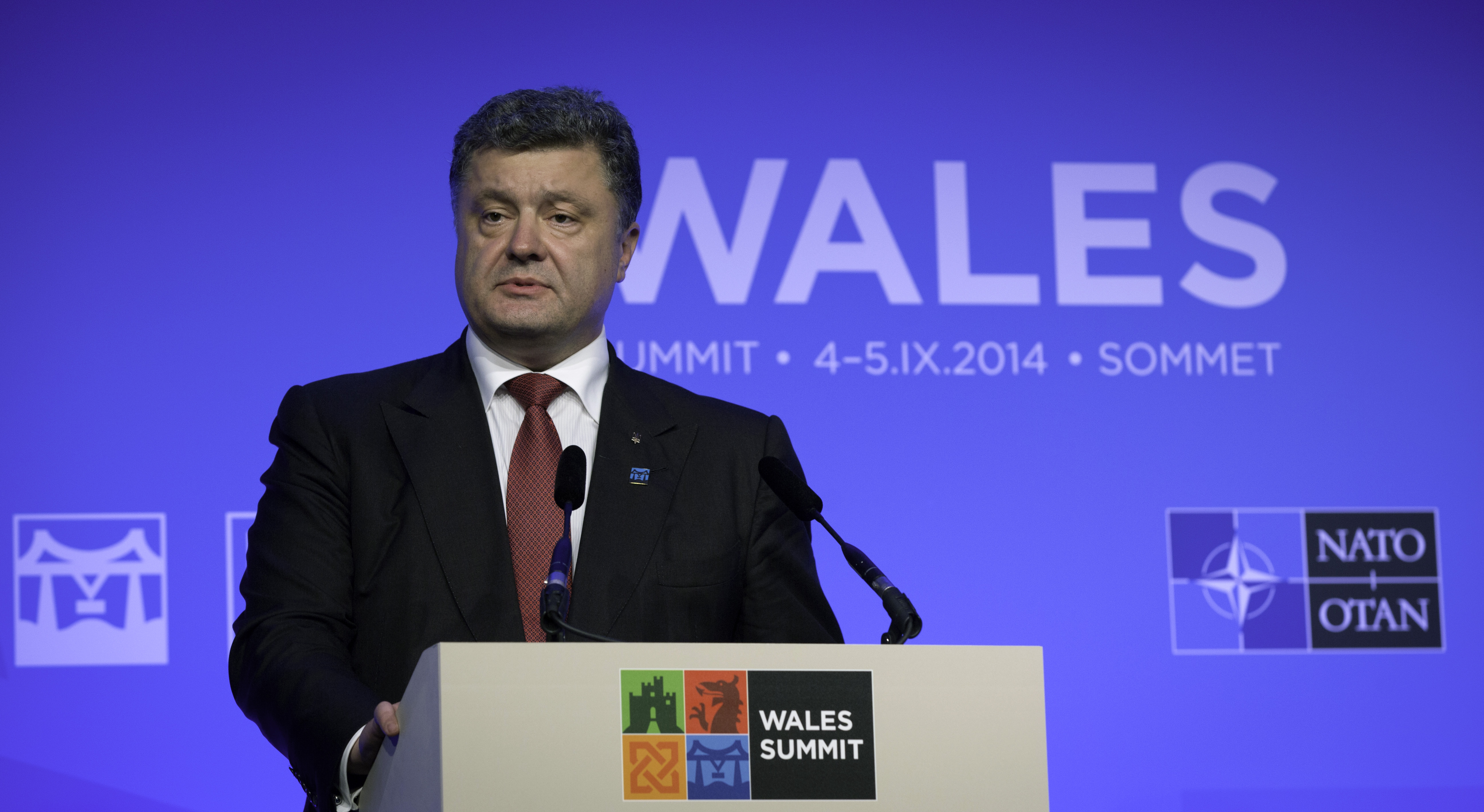 Ukrainian President Petro Poroshenko speaks during a media conference during a NATO summit at the Celtic Manor Resort in Newport, Wales on Thursday, Sept. 4, 2014.