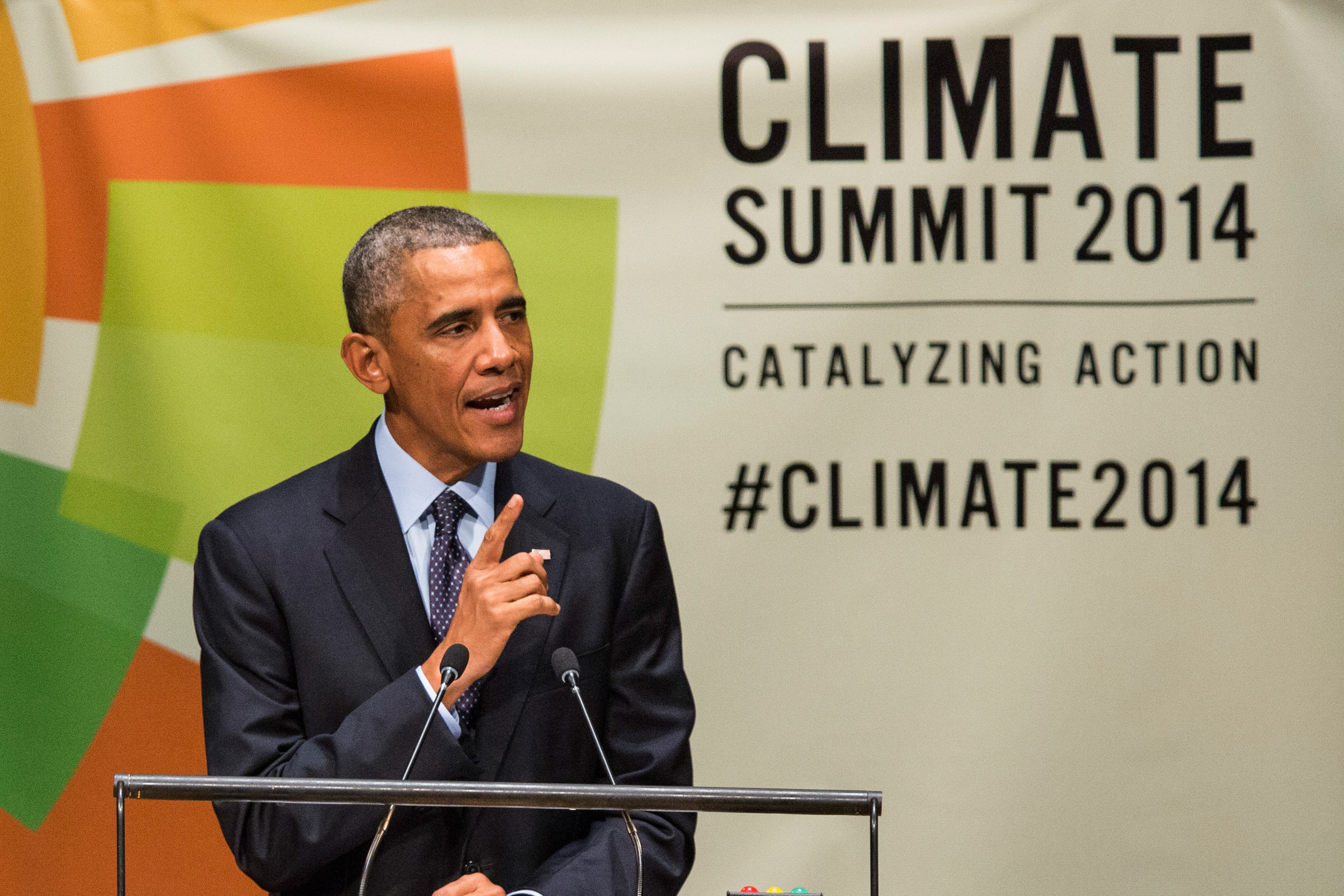 U.S. President Barack Obama speaks at the United Nations Climate Summit on September 23, 2014 in New York City.