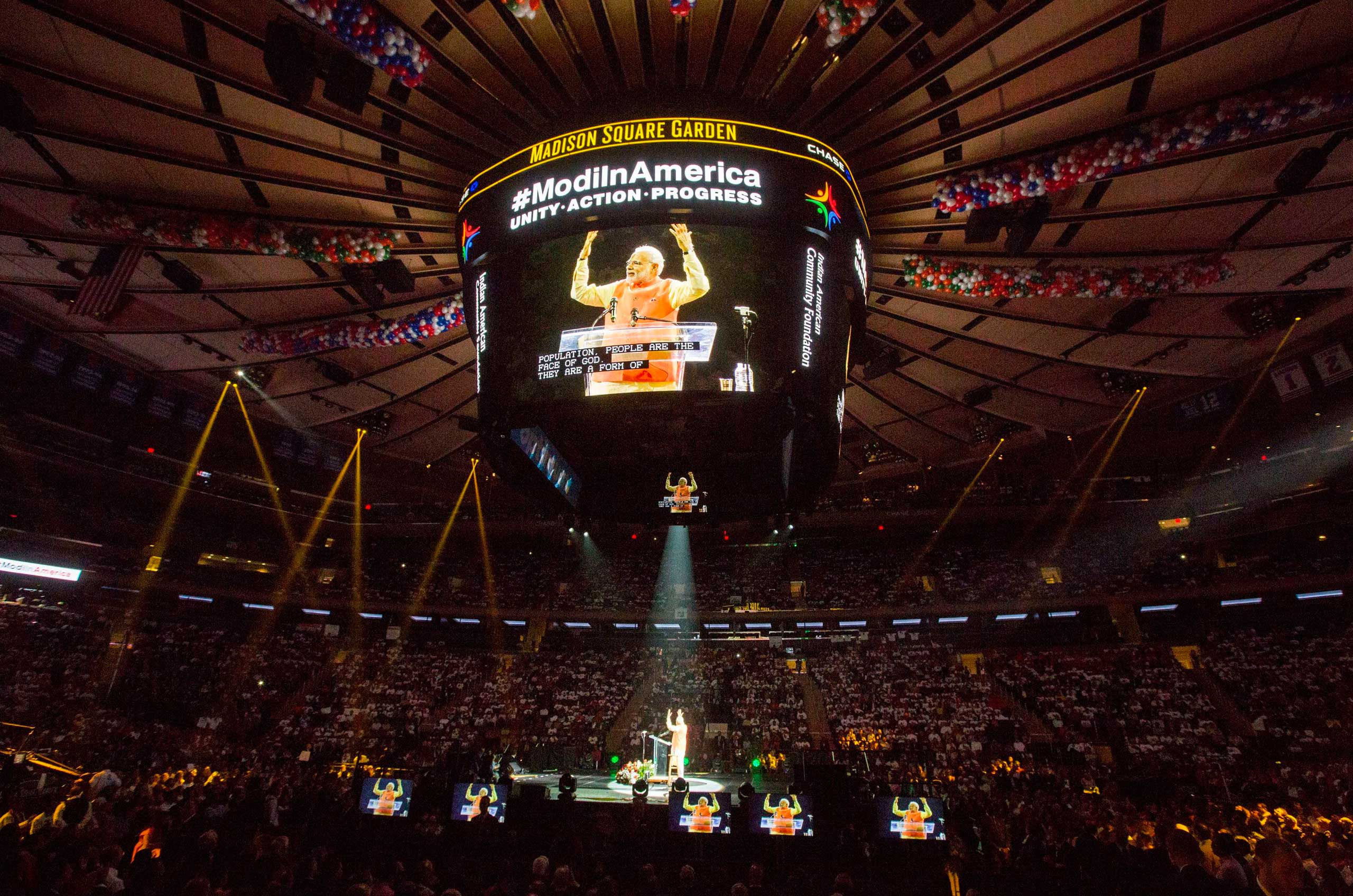 <b>2014:</b> India's Prime Minister Narendra Modi speaks at Madison Square Garden in New York City on his first visit to the US as Prime Minister, after his US visa had been revoked and reinstated.