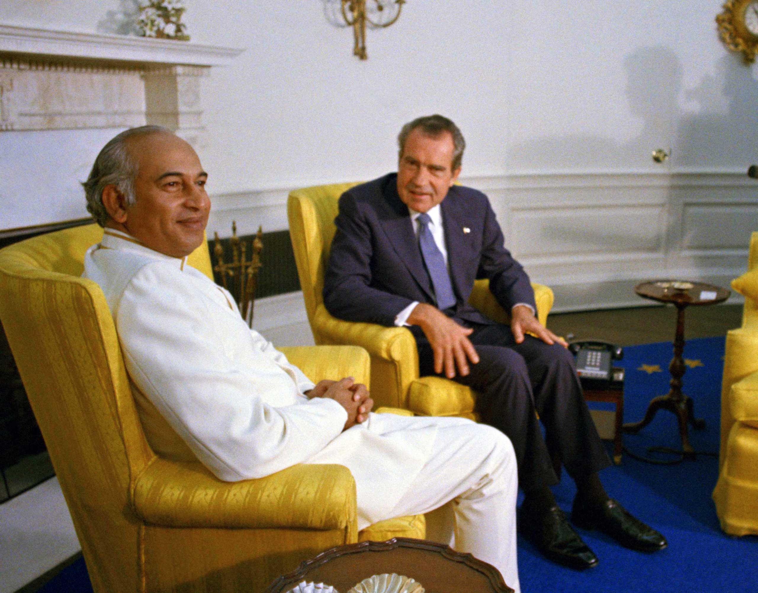 <b>1973:</b> In the early 70s, America's relationship with India deteriorated as the Nixon administration became close allies with Pakistan, viewing India as an ally of the Soviet Union. Here, President Nixon meets with Prime Minister Zulfiqar Ali Bhutto of Pakistan in the oval office of the White House in Washington on Sept. 18, 1973.