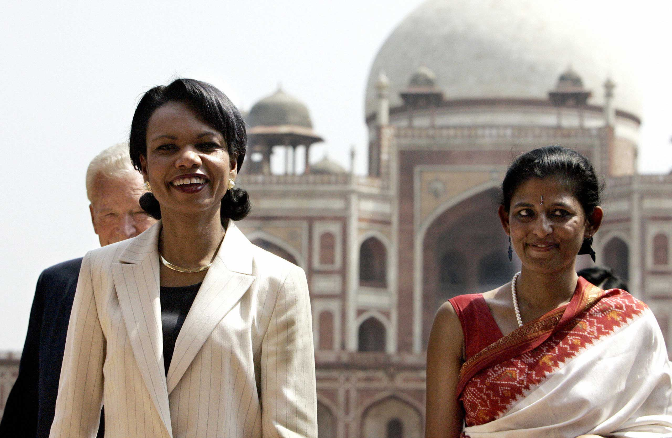 <b>2005:</b> After the Sept. 11, 2001 attacks, the US worked closely with India to strategically monitor the Indian Ocean and Suez Canal to Singapore. Here, US Secretary of State Condoleezza Rice visits Humayun's Tomb in New Delhi