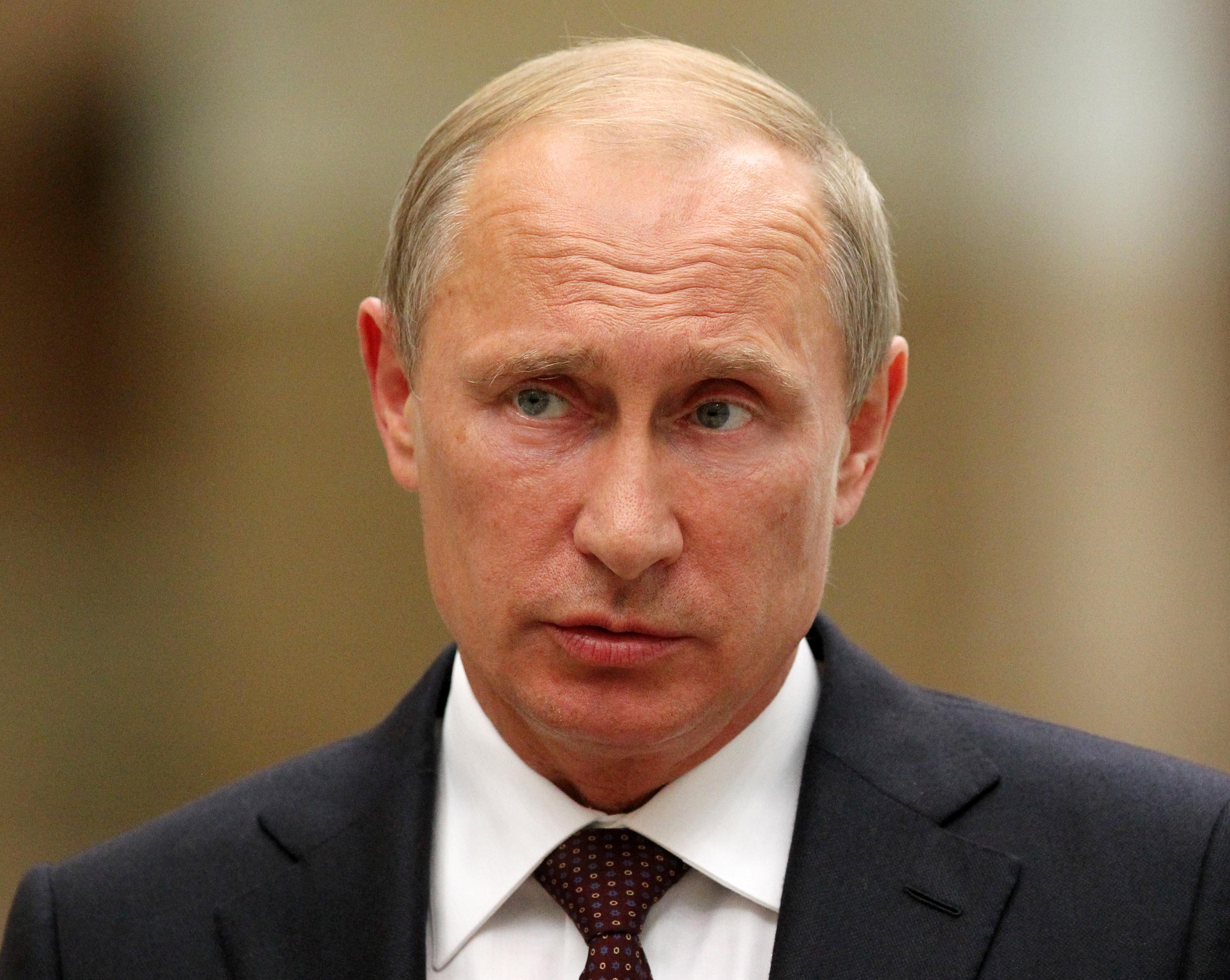 Russian President Vladimir Putin speaks at a news conference on Aug. 26, 2014, in Minsk, Belarus