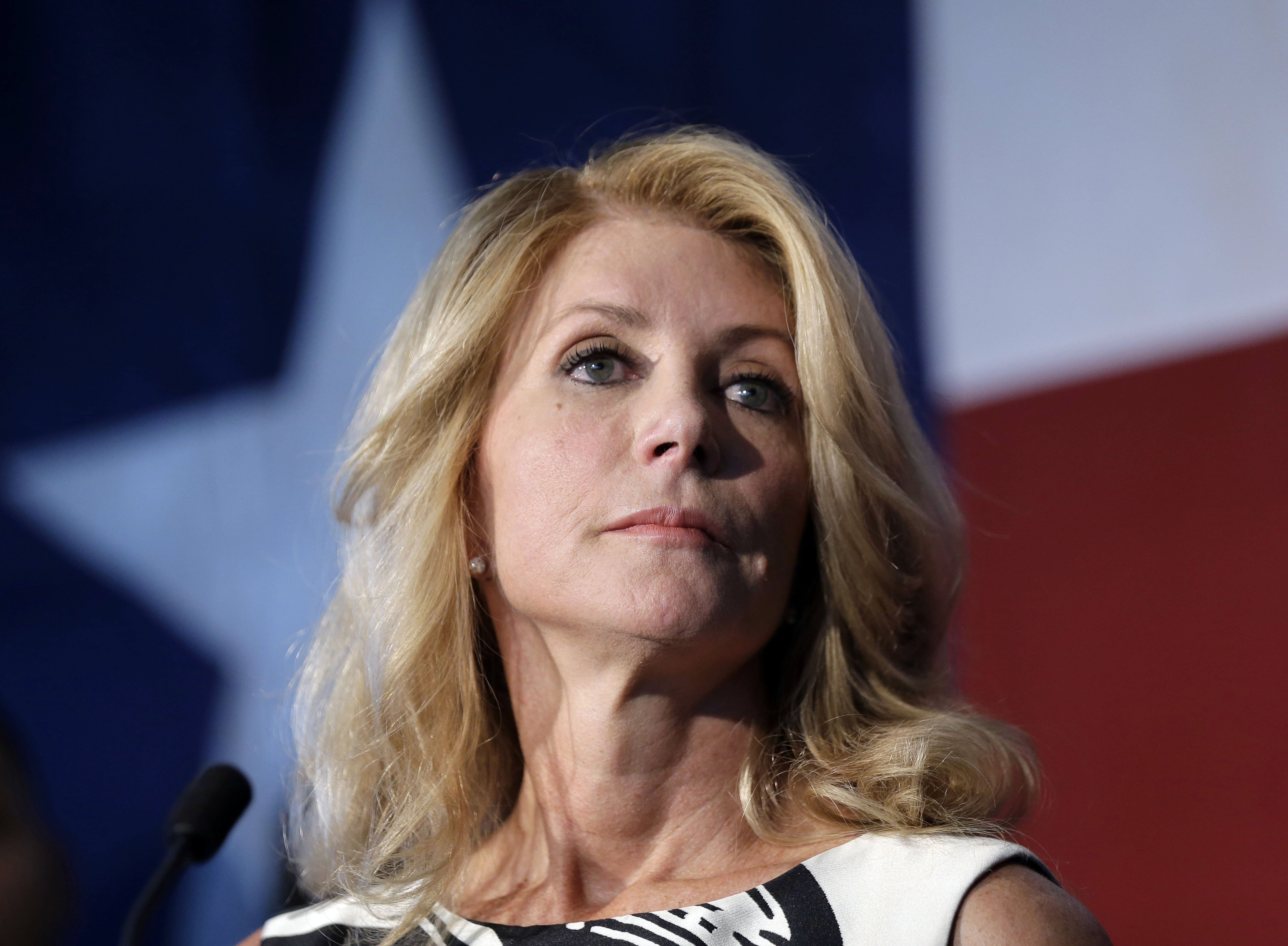 Texas Democratic gubernatorial candidate Wendy Davis presents her new education policy during a stop at Palo Alto College in San Antonio on Aug. 26, 2014