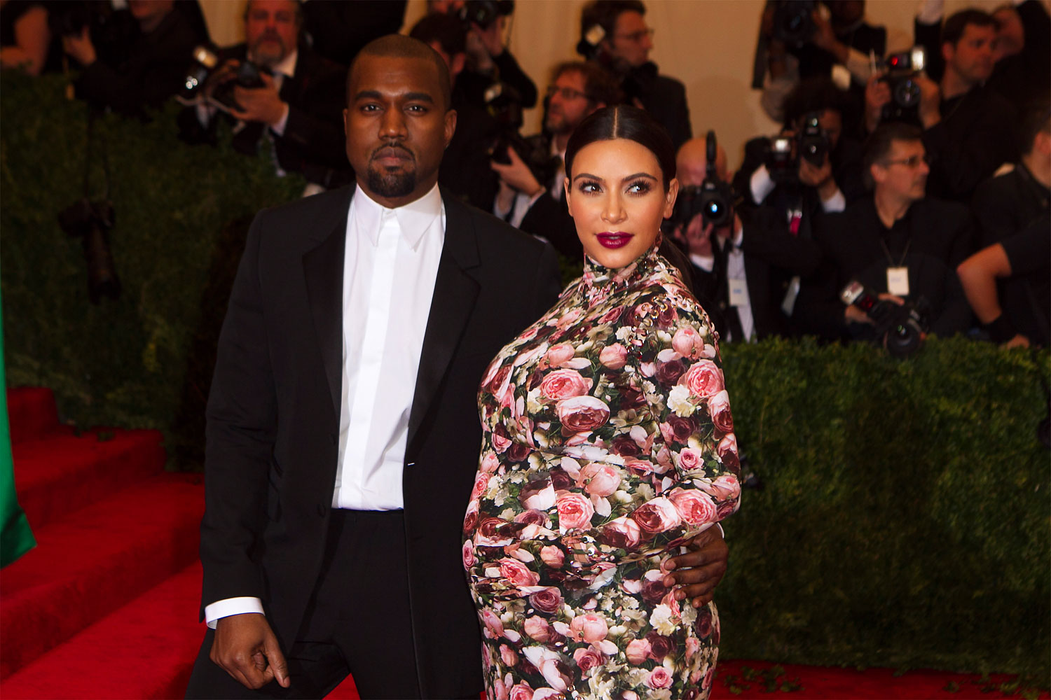 Singer Kanye West and reality tv actress Kim Kardashian arrive at the Metropolitan Museum of Art Costume Institute Benefit celebrating the opening of  PUNK: Chaos to Couture  in New York