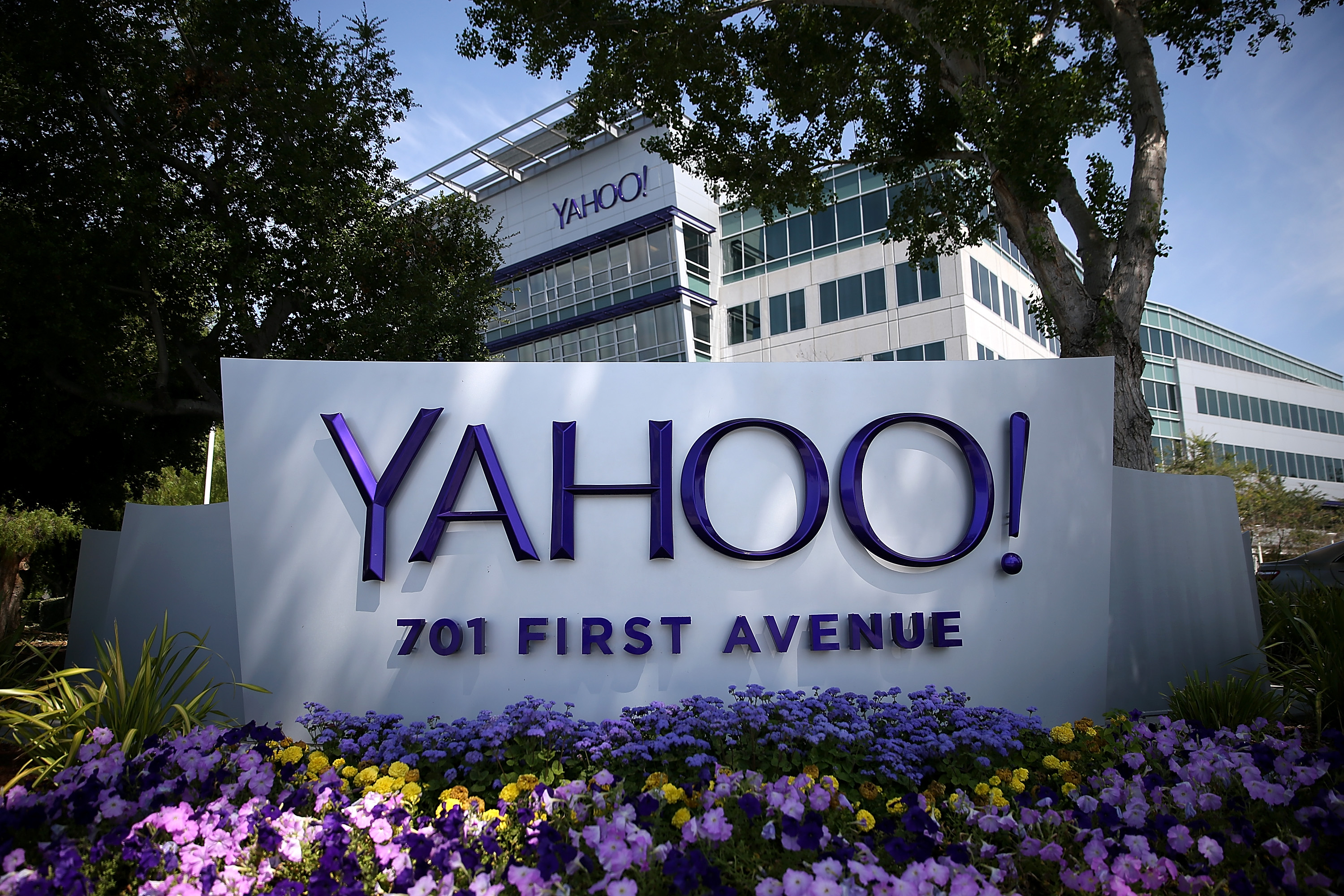 A sign is posted in front of the Yahoo! headquarters on May 23, 2014 in Sunnyvale, Calif.