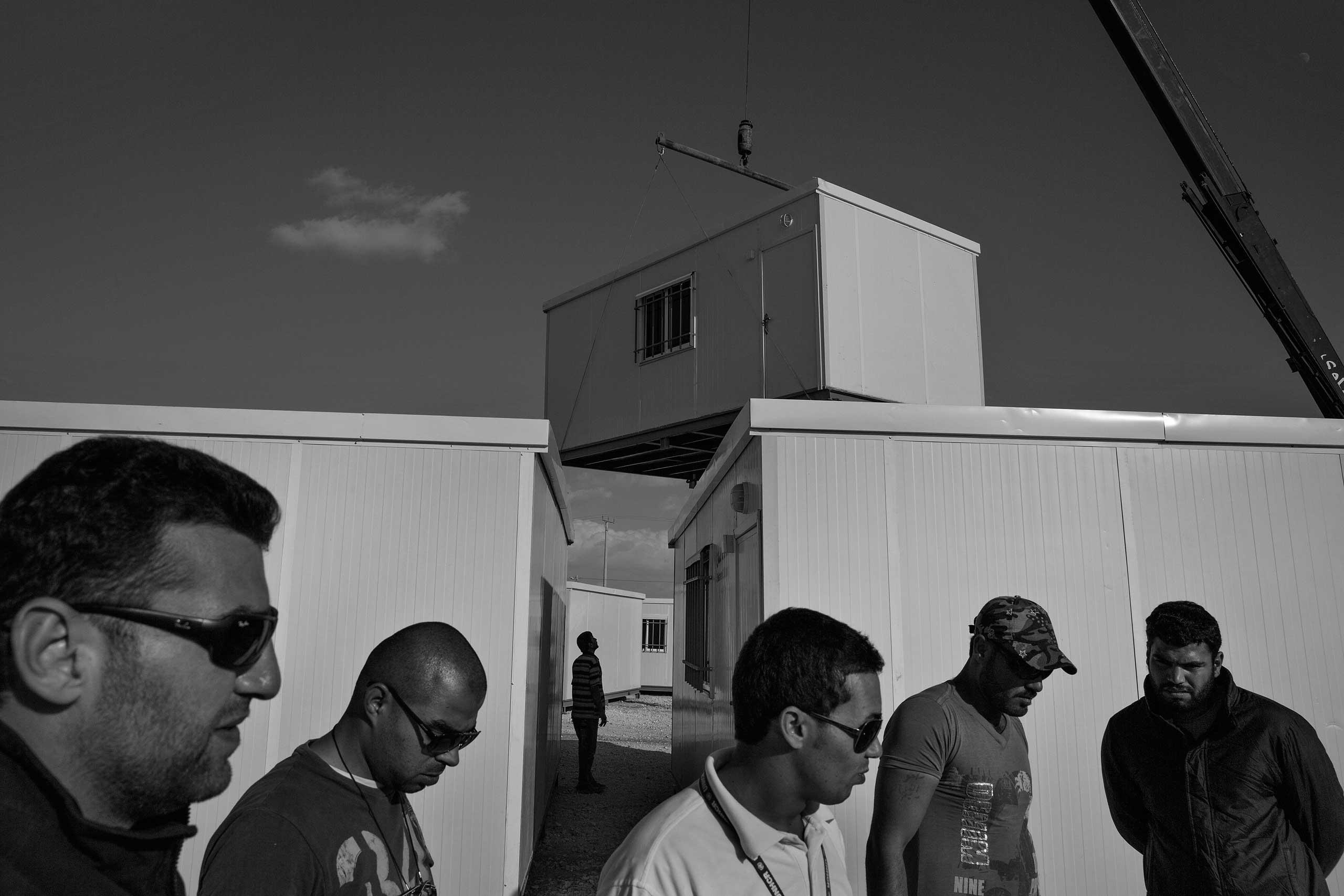 December 2013. Za'atari refugee camp, Jordan. Caravans being delivered to replace tents at the camp.