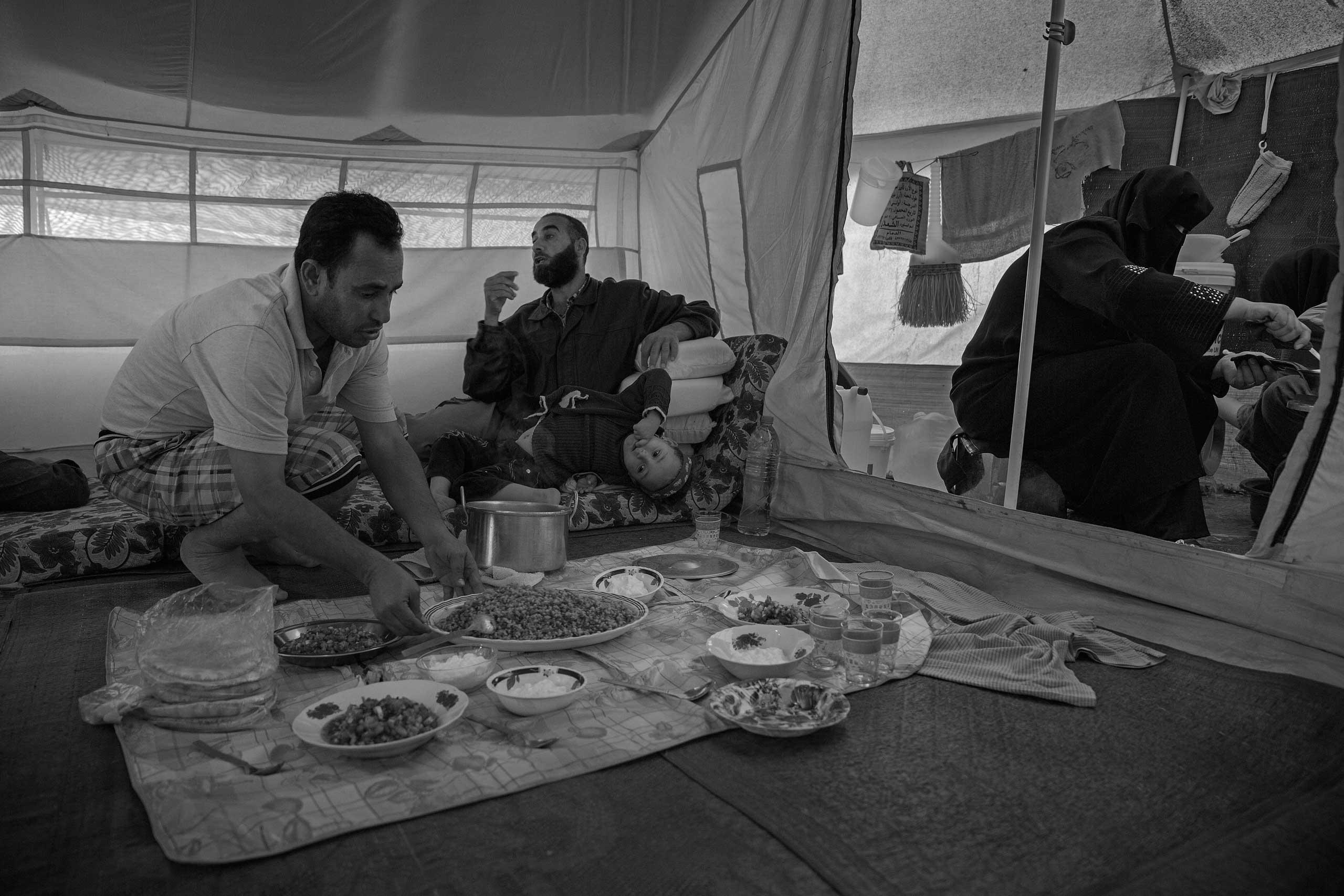 December 2013. Za'atari refugee camp, Jordan. Interior of a camp tent.