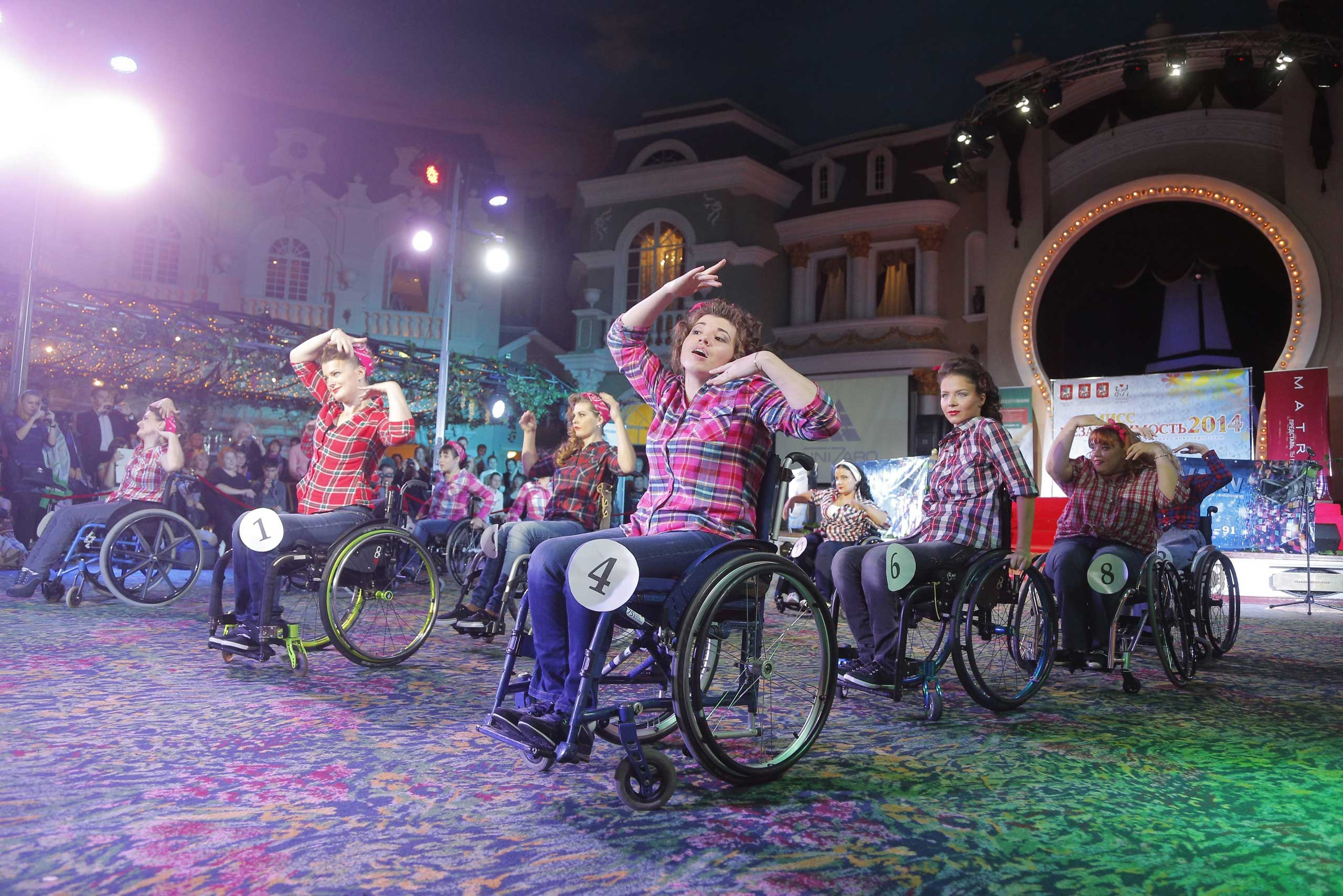 Sept. 30, 2014. Women in wheelchairs dance during the Miss Independence 2014 beauty contest in Moscow, Russia. The beauty contest is organized to increase awareness of women with disabilities.