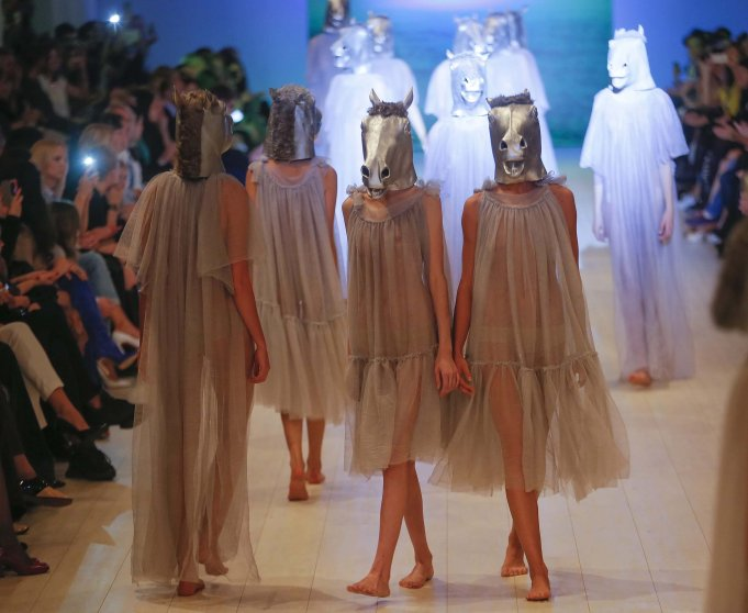 Models present creations by Ukrainian designer Victoria Gres during the Ukrainian Fashion Week in Kiev, Ukraine on Oct. 15, 2014.